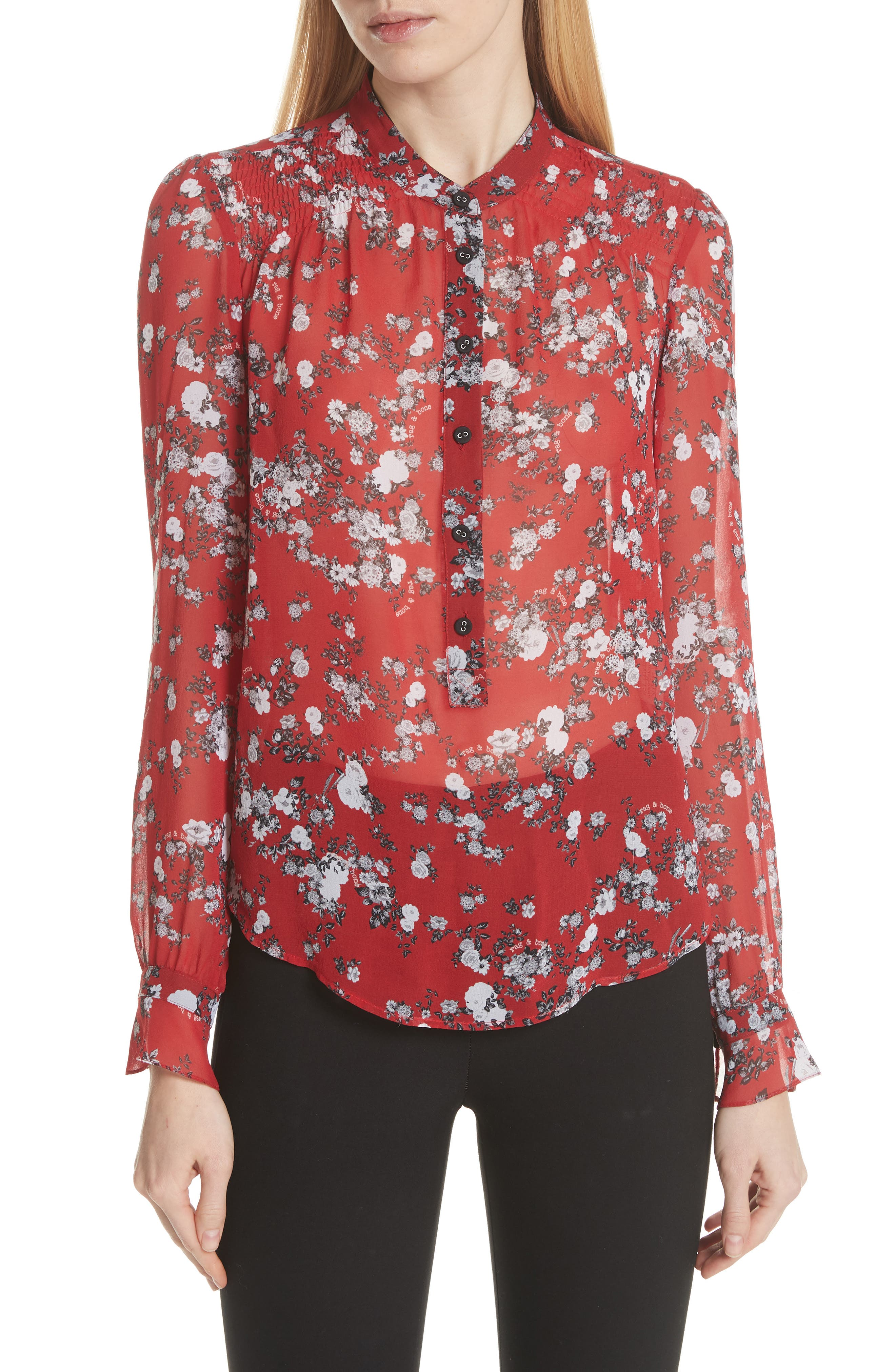 rag & bone Susan Floral Print Silk Blouse