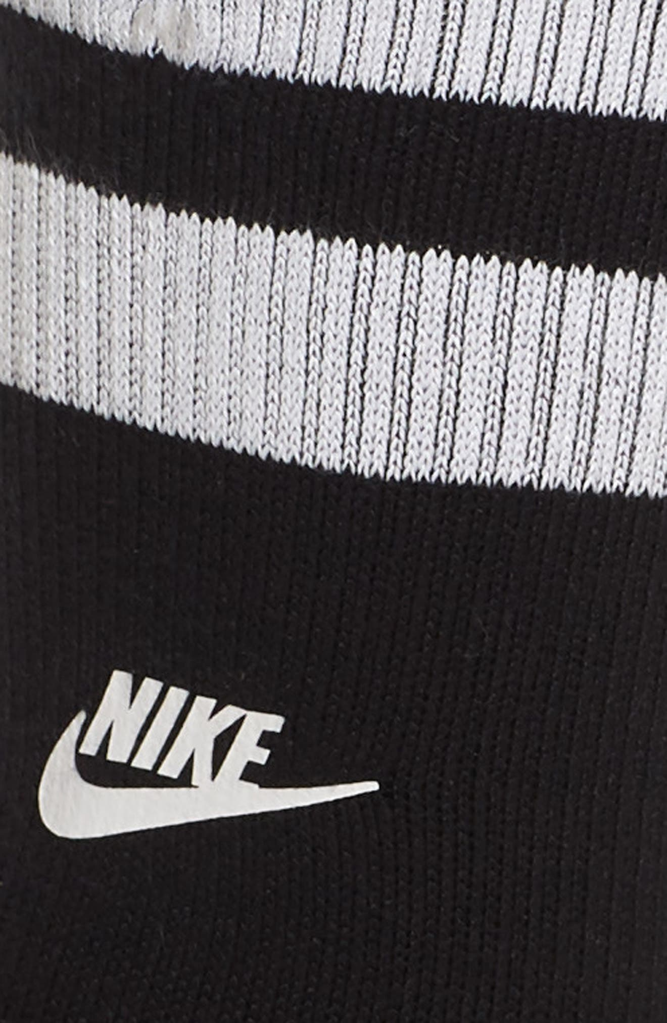 Stripe Top Crew Socks,                             Alternate thumbnail 2, color,                             Black/ White