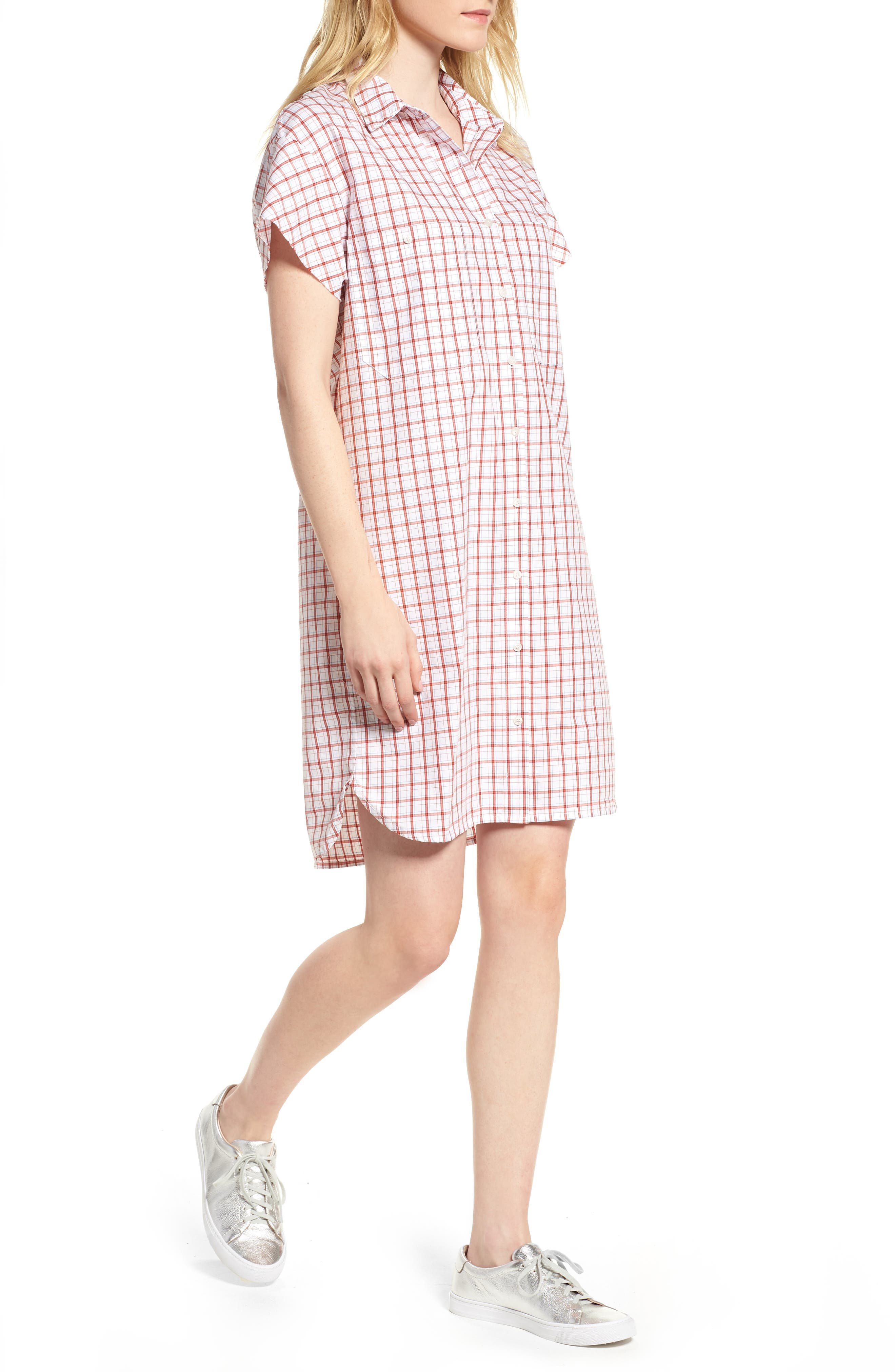 Oxford Shirtdress,                         Main,                         color, Red Plaid