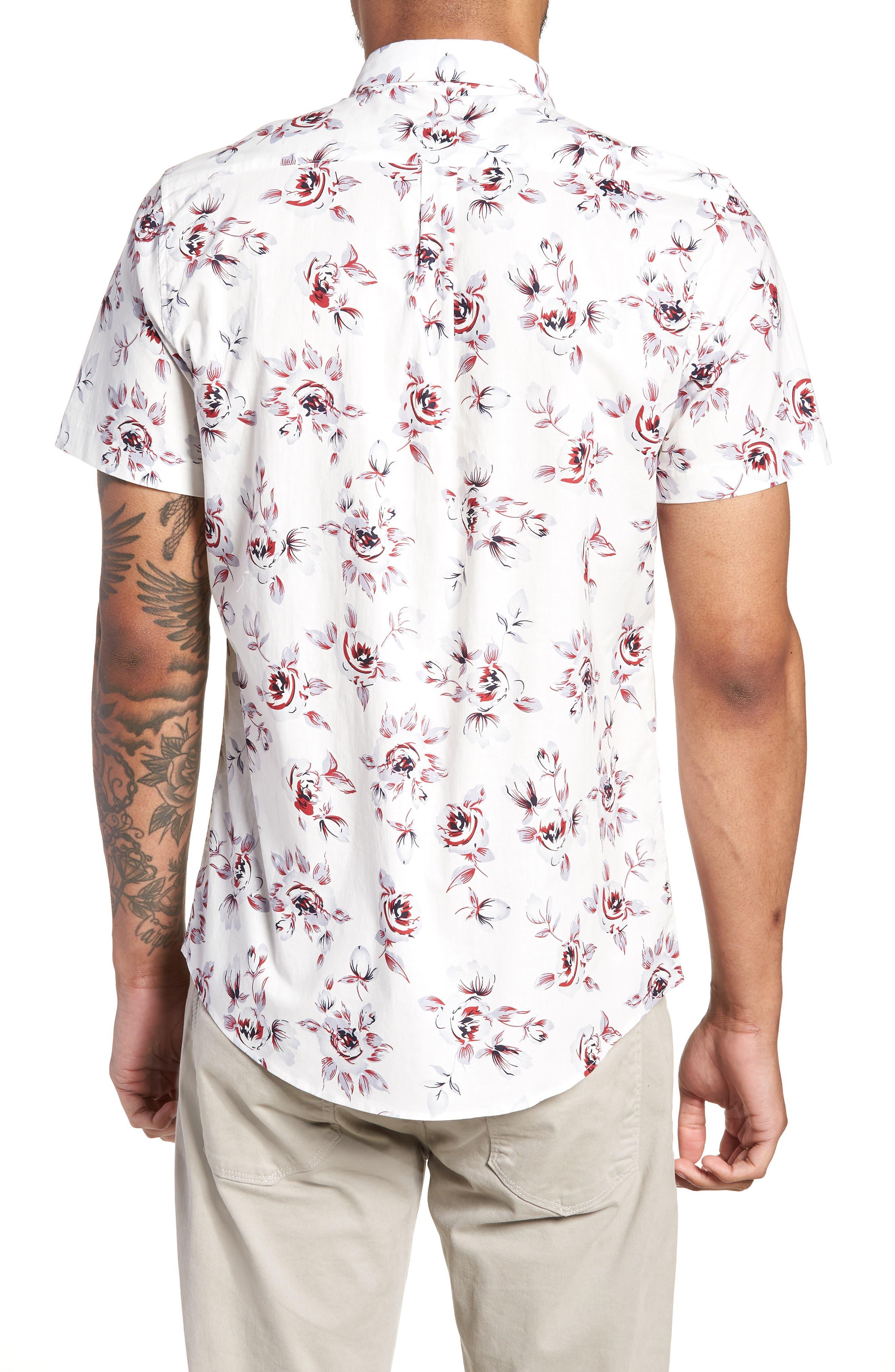 Trim Fit Print Woven Short Sleeve Shirt,                             Alternate thumbnail 2, color,                             White Red Rose