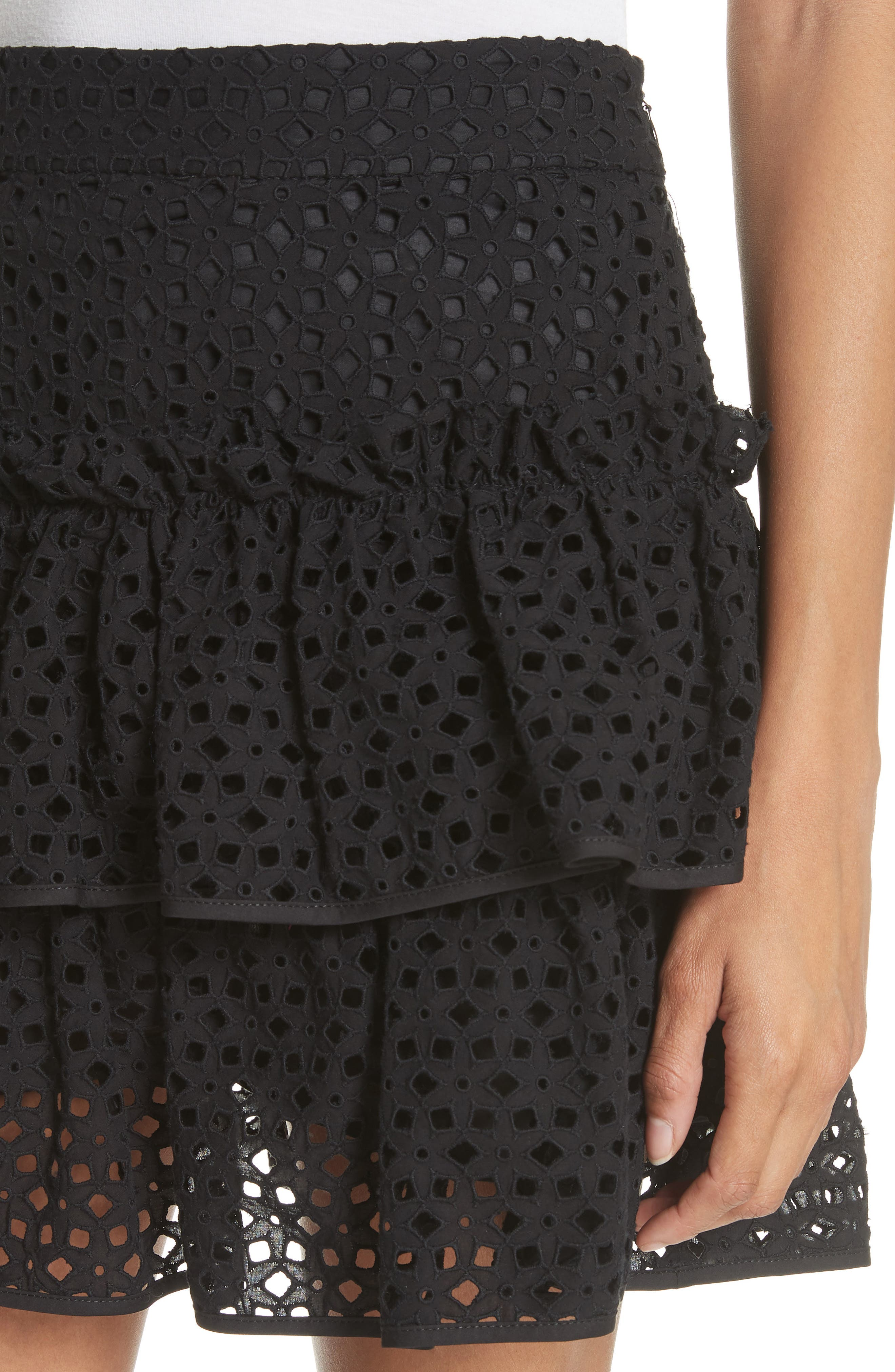 Floral Ruffle Tiered Cotton Eyelet Miniskirt,                             Alternate thumbnail 4, color,                             Black