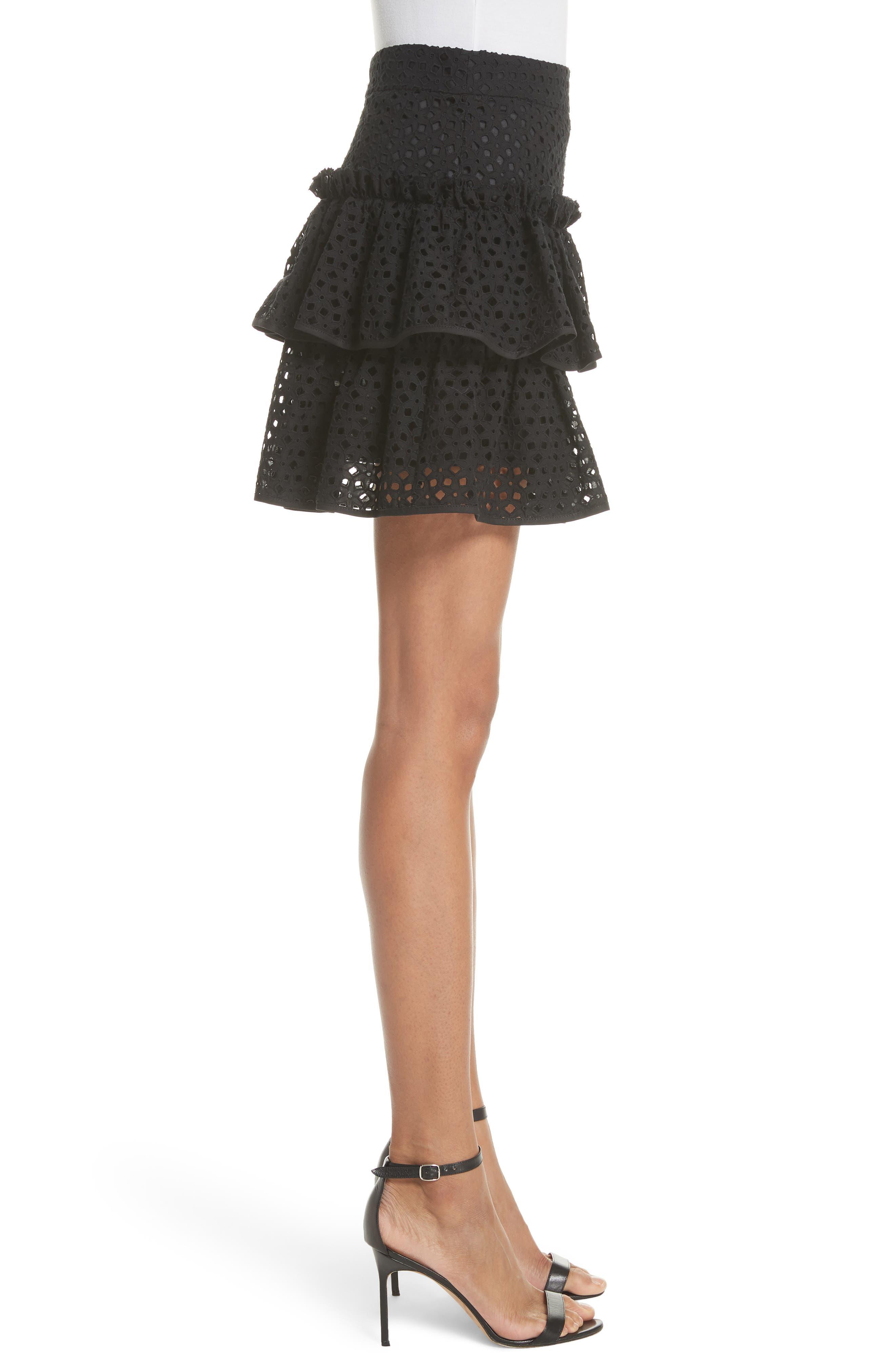 Floral Ruffle Tiered Cotton Eyelet Miniskirt,                             Alternate thumbnail 3, color,                             Black