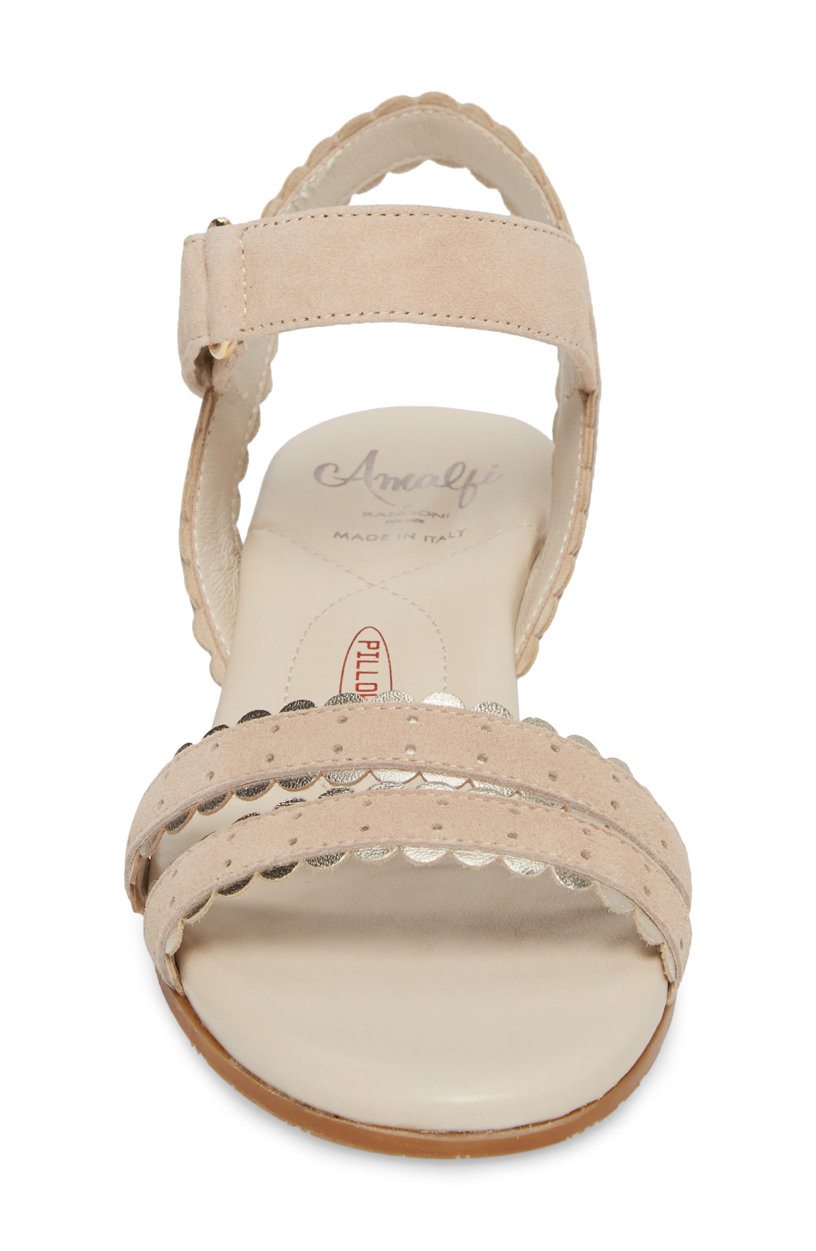 Messina Wedge Sandal,                             Alternate thumbnail 4, color,                             Cream/ Platinum Suede
