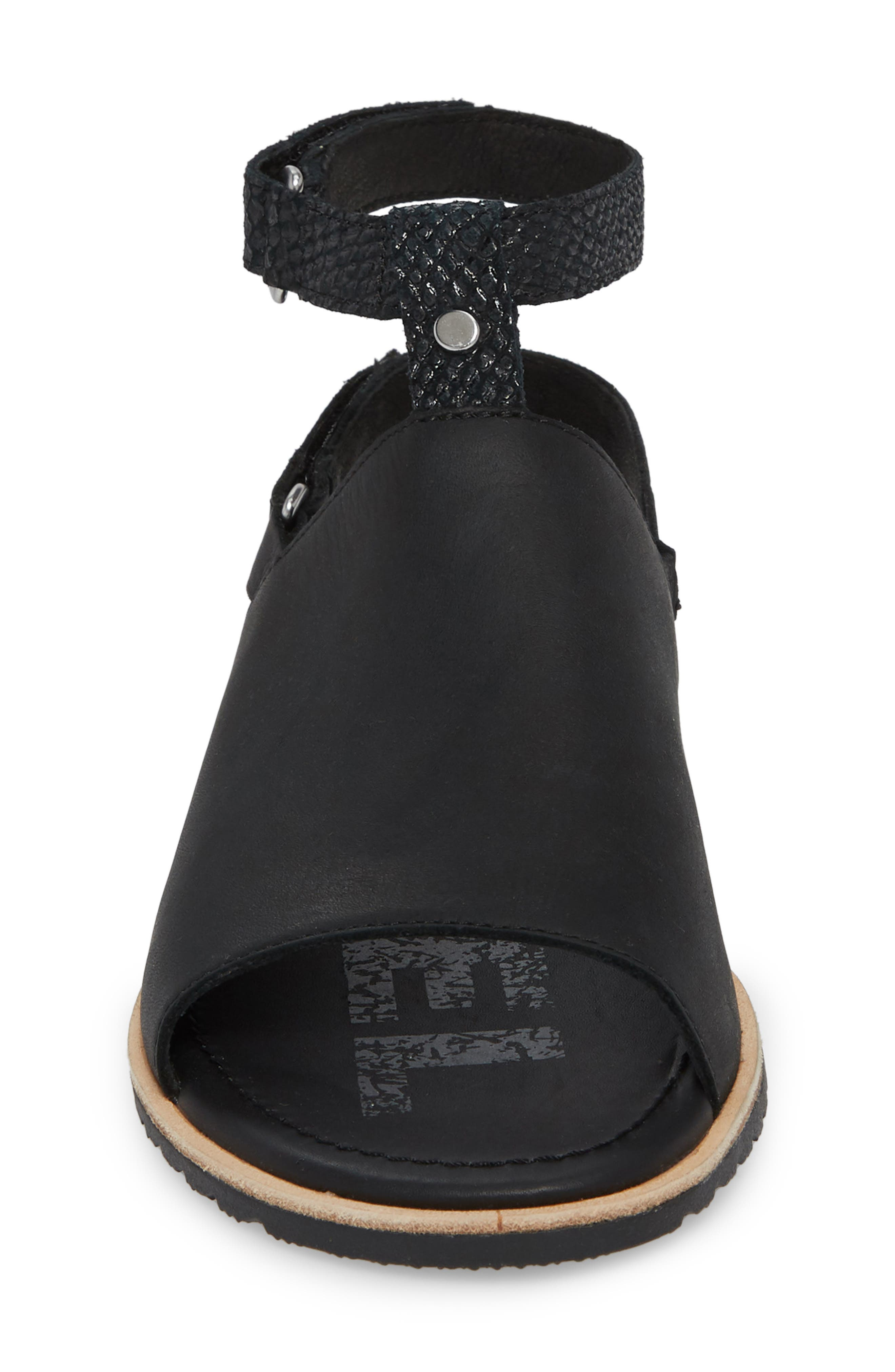 Ella Strappy Sandal,                             Alternate thumbnail 4, color,                             Black