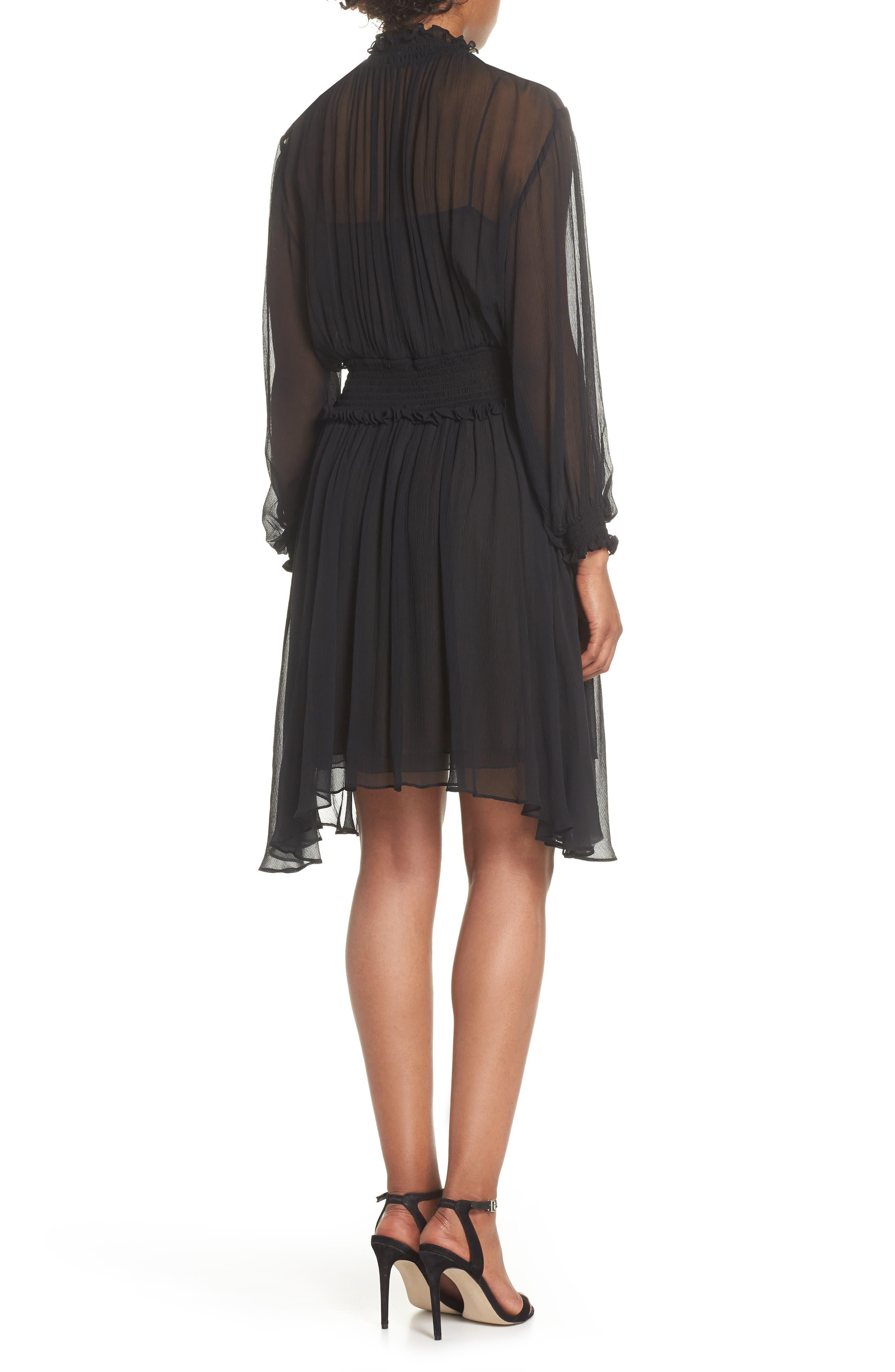 Classic Smocked Chiffon Dress,                             Alternate thumbnail 2, color,                             Black