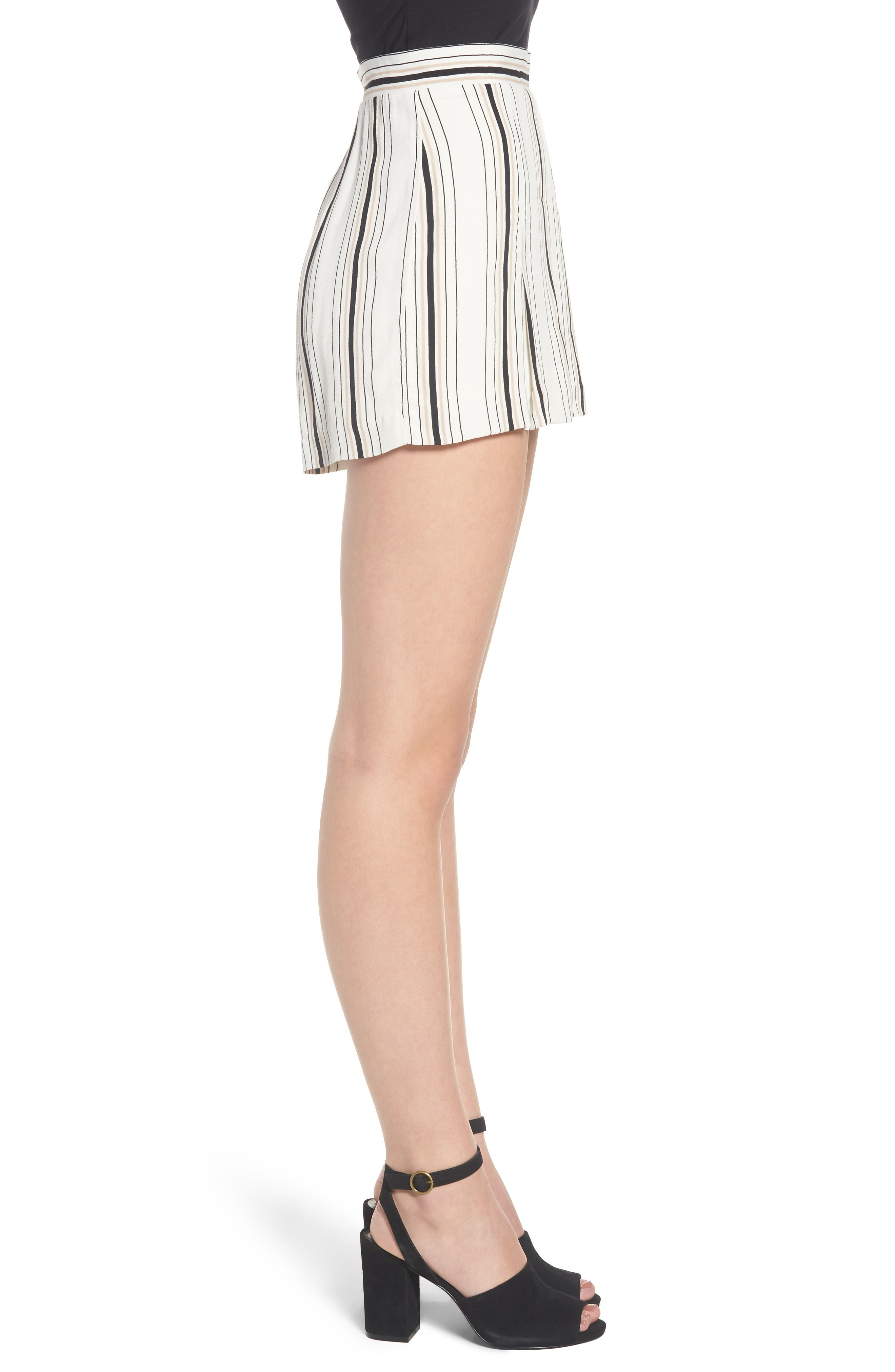Stripe High Waist Woven Shorts,                             Alternate thumbnail 4, color,                             Ivory Stripe