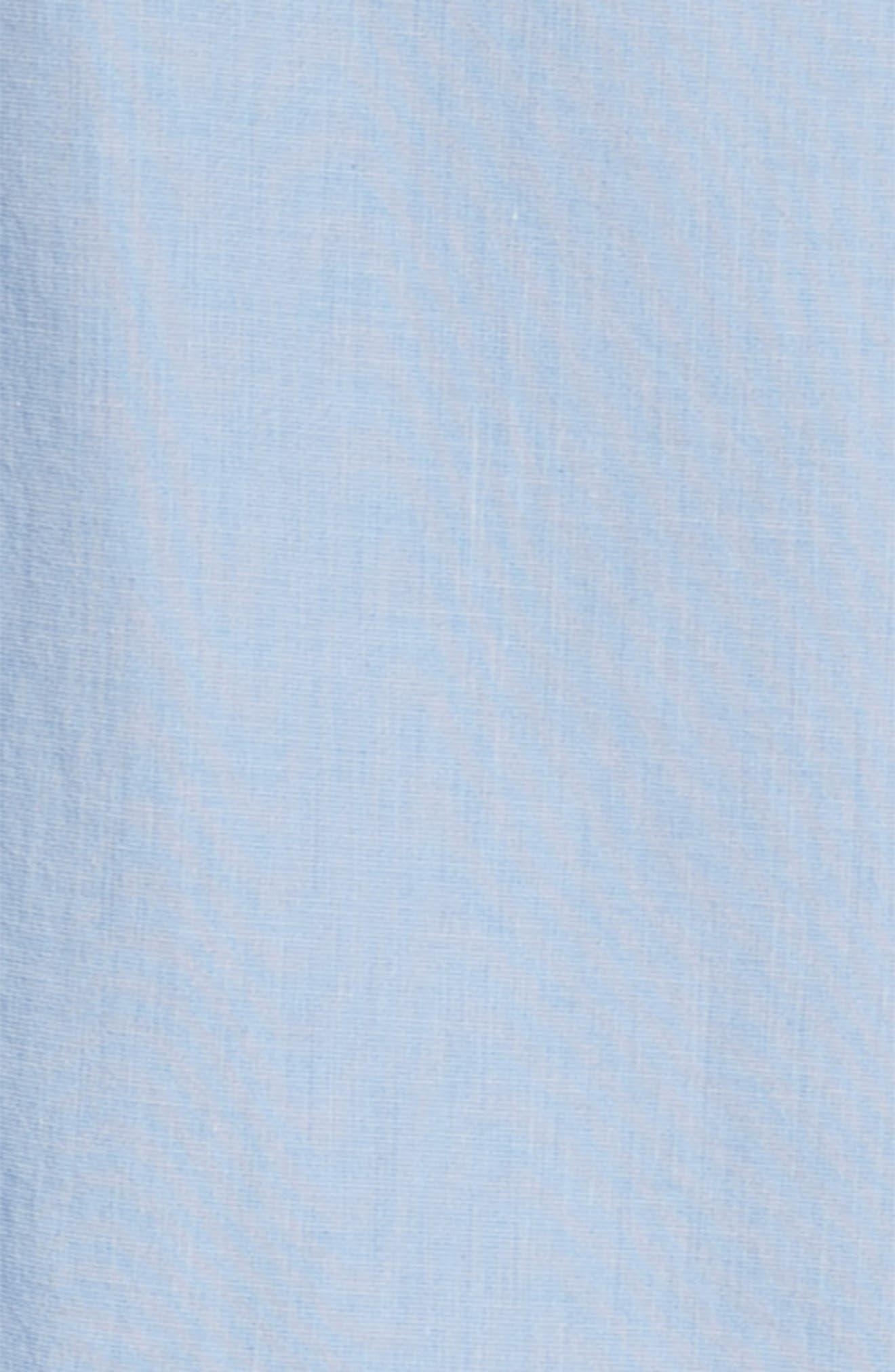 Ruffle Shirtdress,                             Alternate thumbnail 3, color,                             Blue Chambray Grid