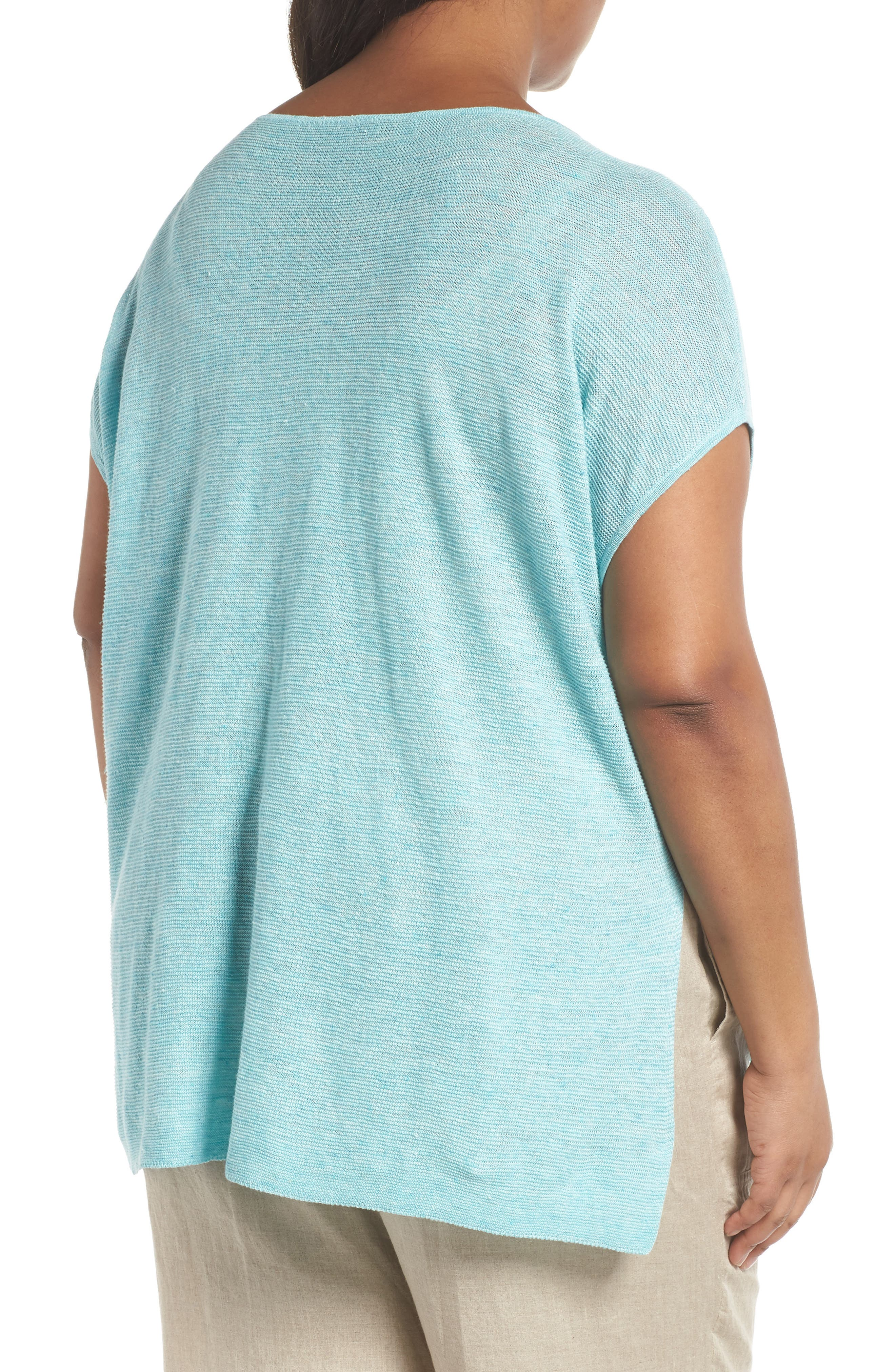 Organic Linen Poncho,                             Alternate thumbnail 2, color,                             Pale Turquoise