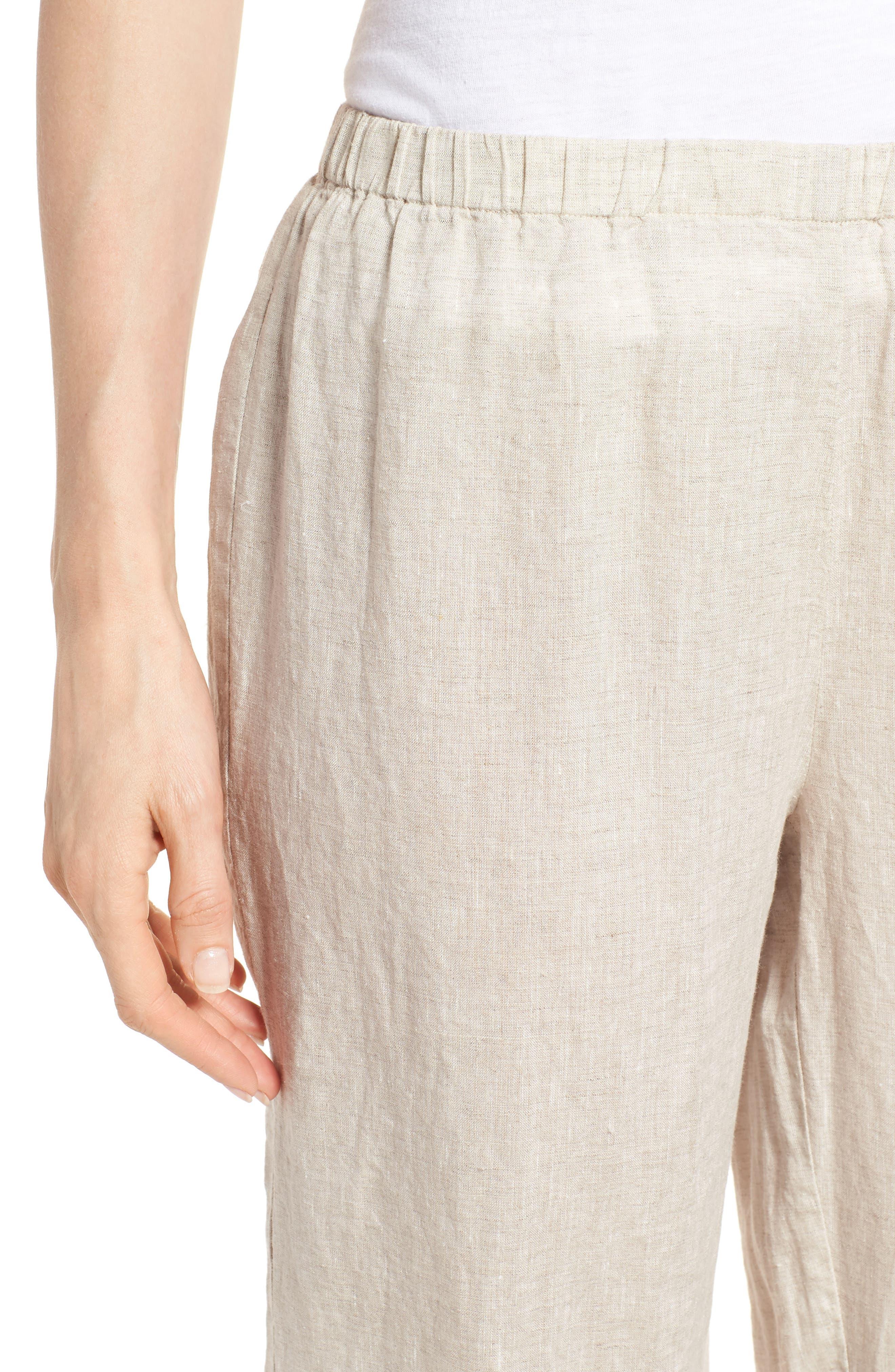 Crop Straight Leg Linen Pants,                             Alternate thumbnail 4, color,                             Natural