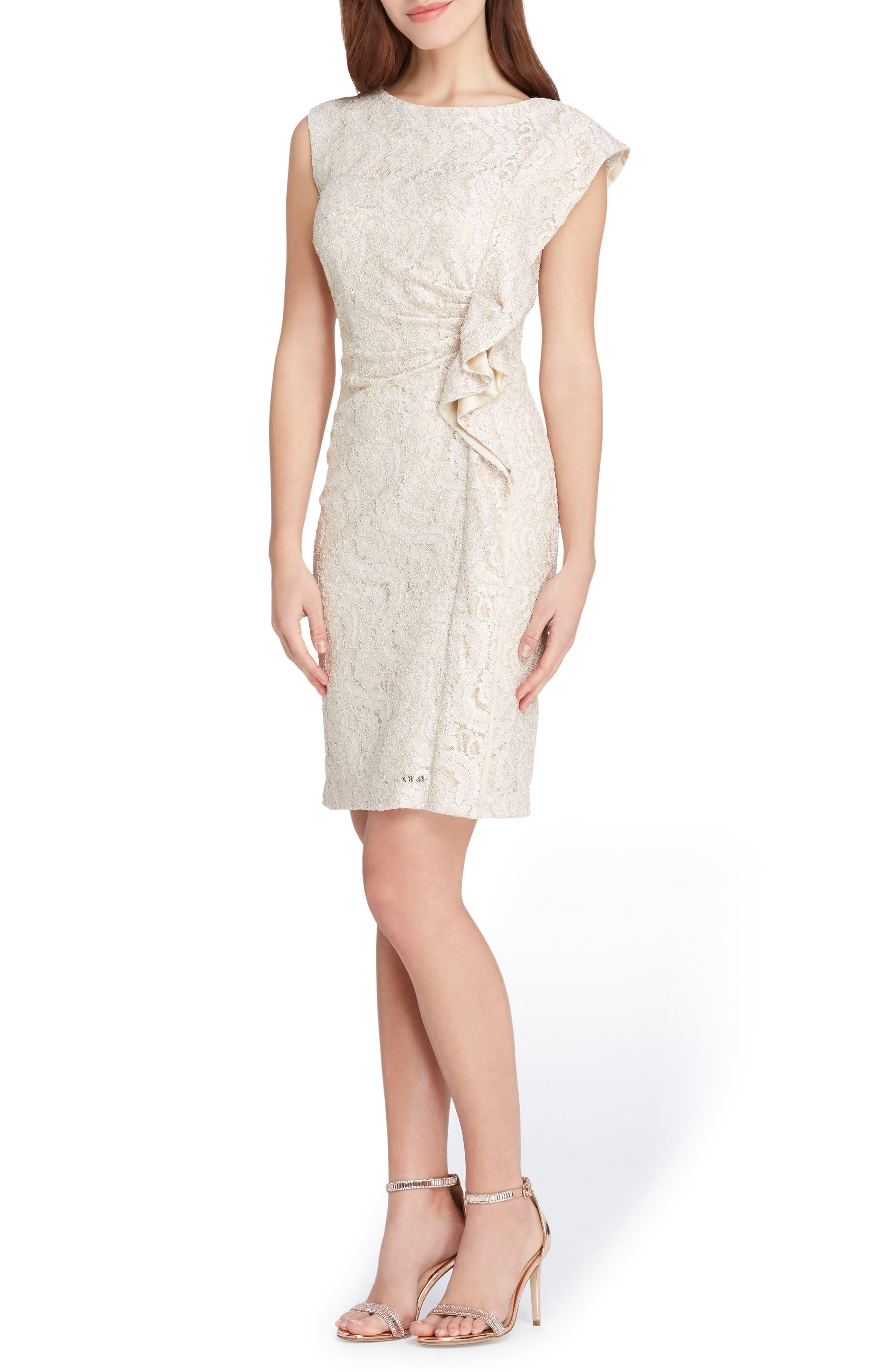 Ruffle Lace Sheath Dress,                             Main thumbnail 1, color,                             Champagne