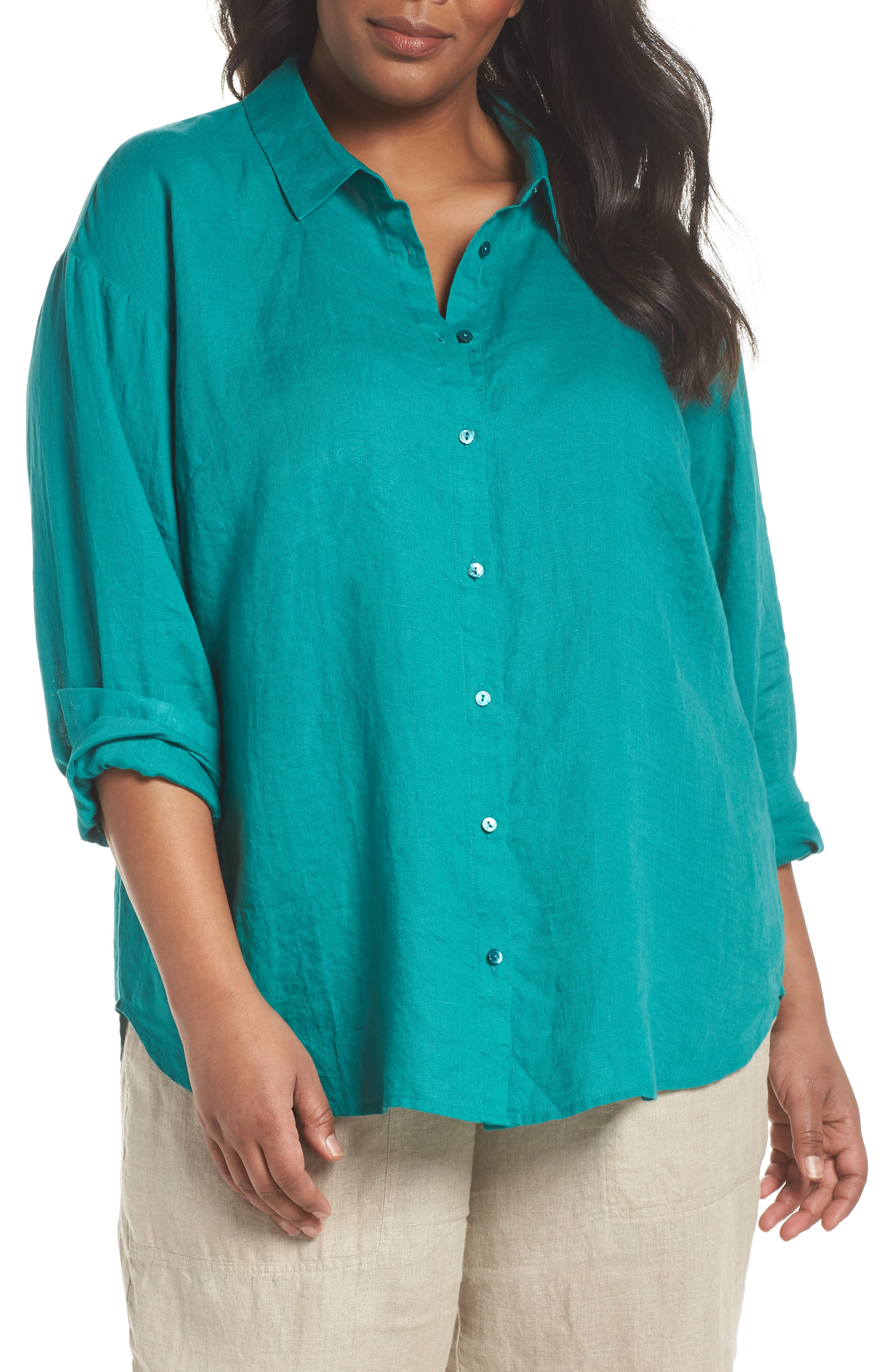 Organic Linen Shirt,                             Main thumbnail 1, color,                             Turquoise