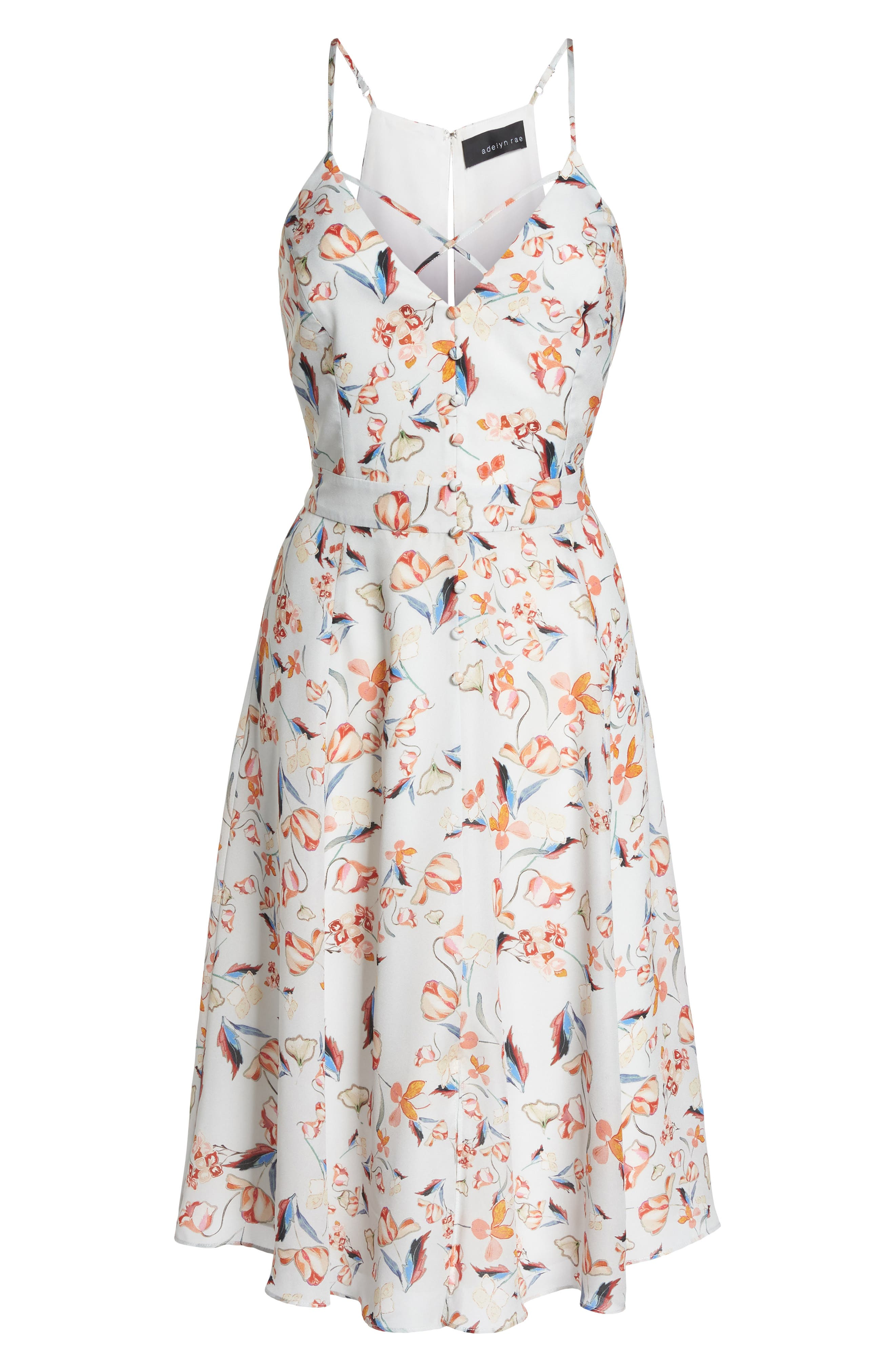 Tiffany Floral Fit & Flare Dress,                             Alternate thumbnail 7, color,                             Crystal Blue Multi