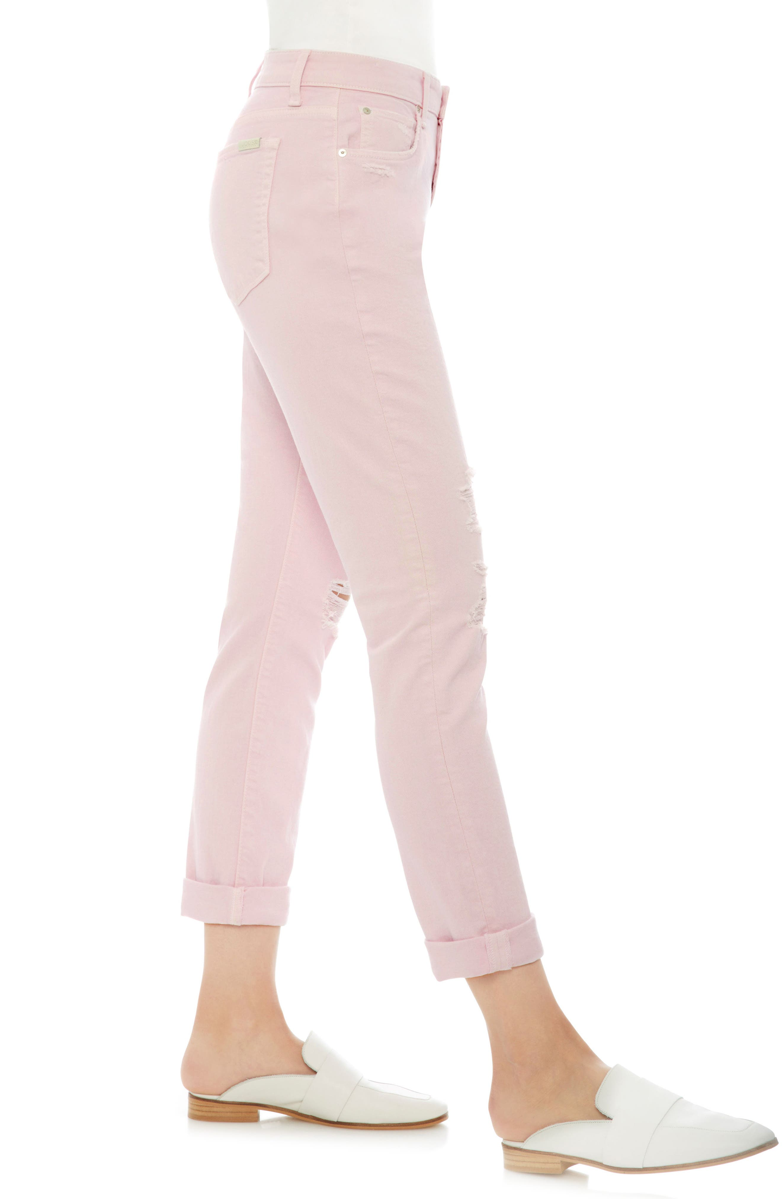 Smith Ripped High Waist Crop Slim Jeans,                             Alternate thumbnail 3, color,                             Parfait Pink