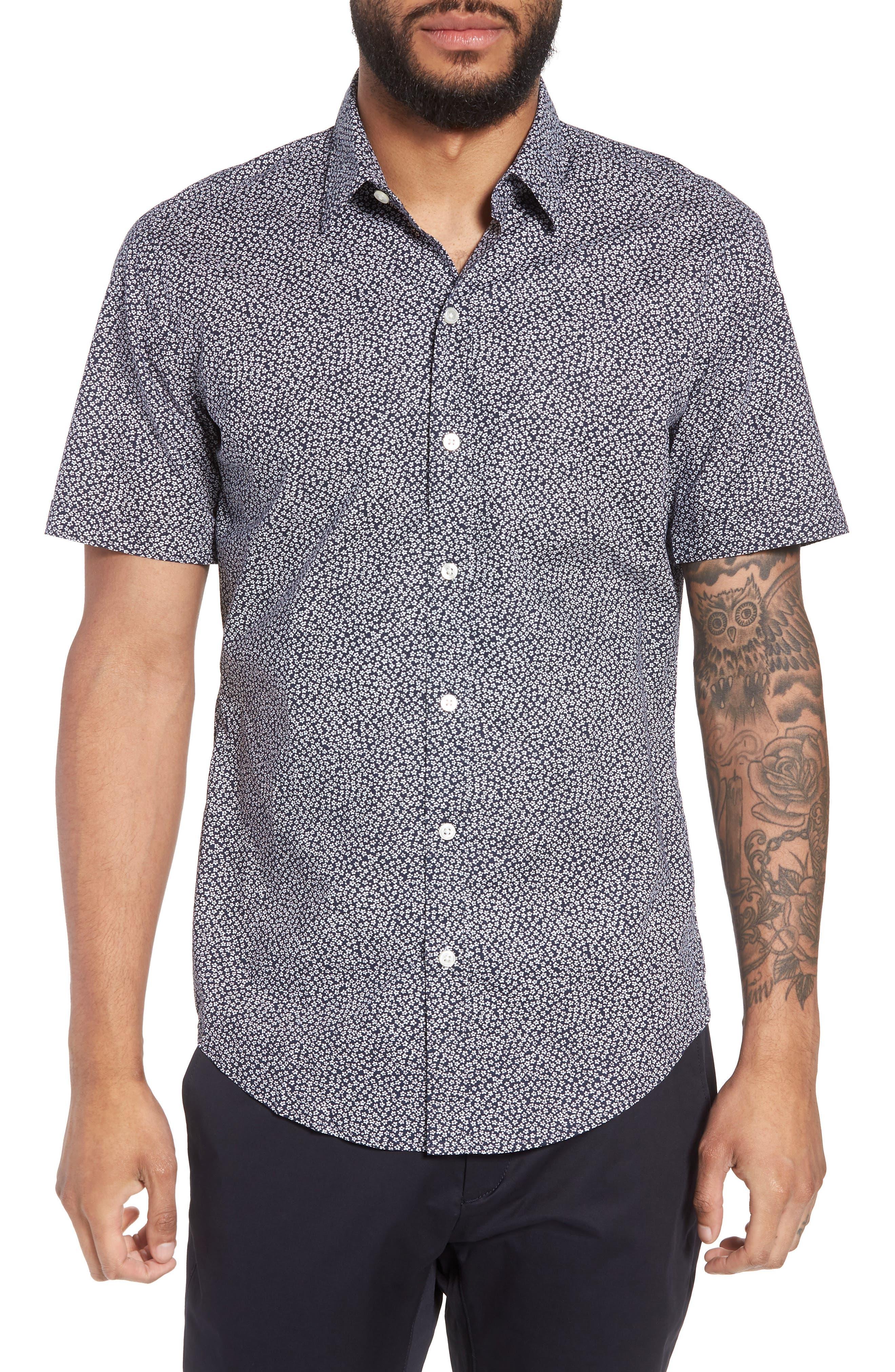 Alternate Image 1 Selected - BOSS Robb Trim Fit Floral Short Sleeve Sport Shirt