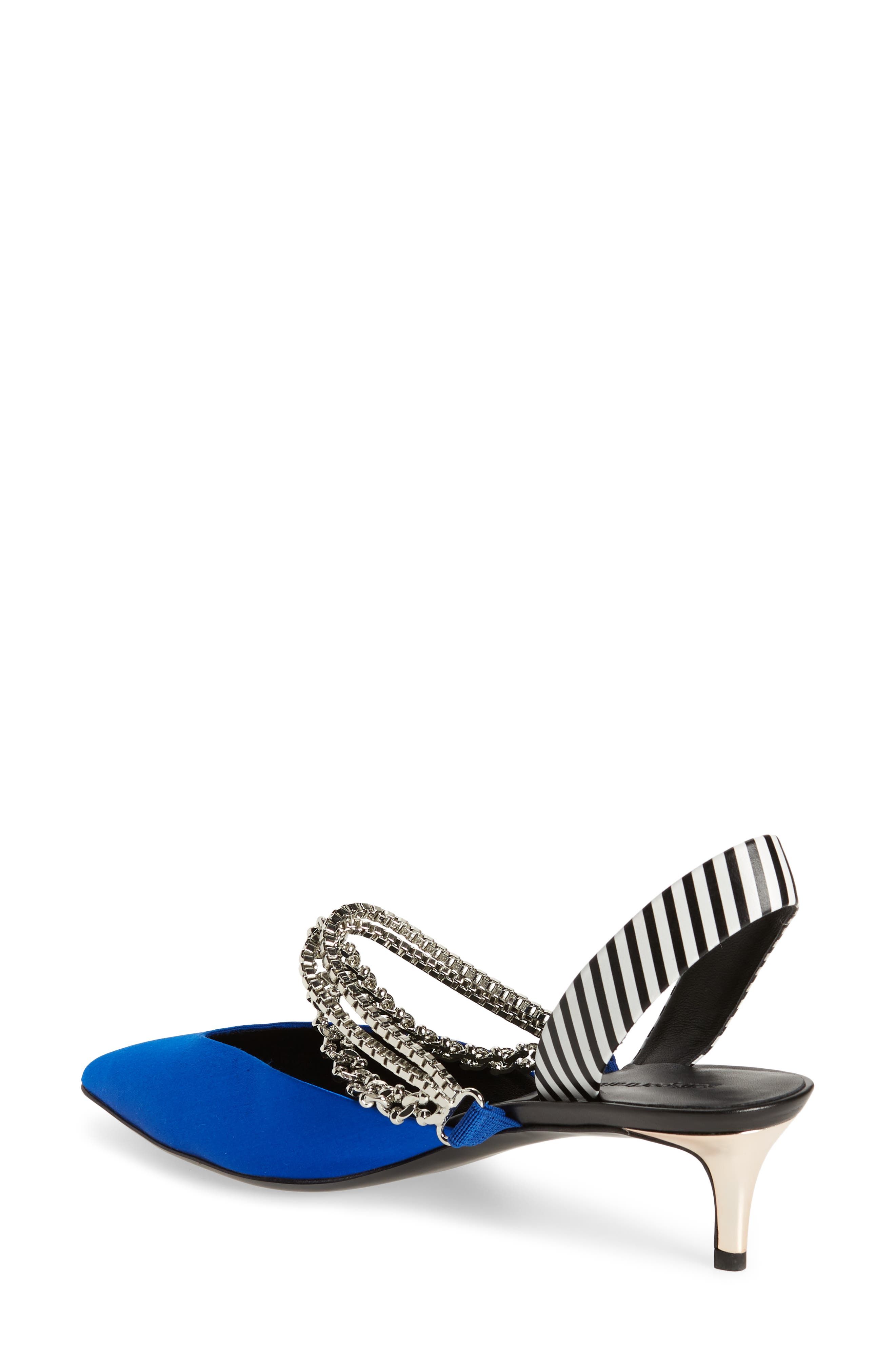 Kitty Chain Embellished Slingback Pump,                             Alternate thumbnail 2, color,                             Bright Blue