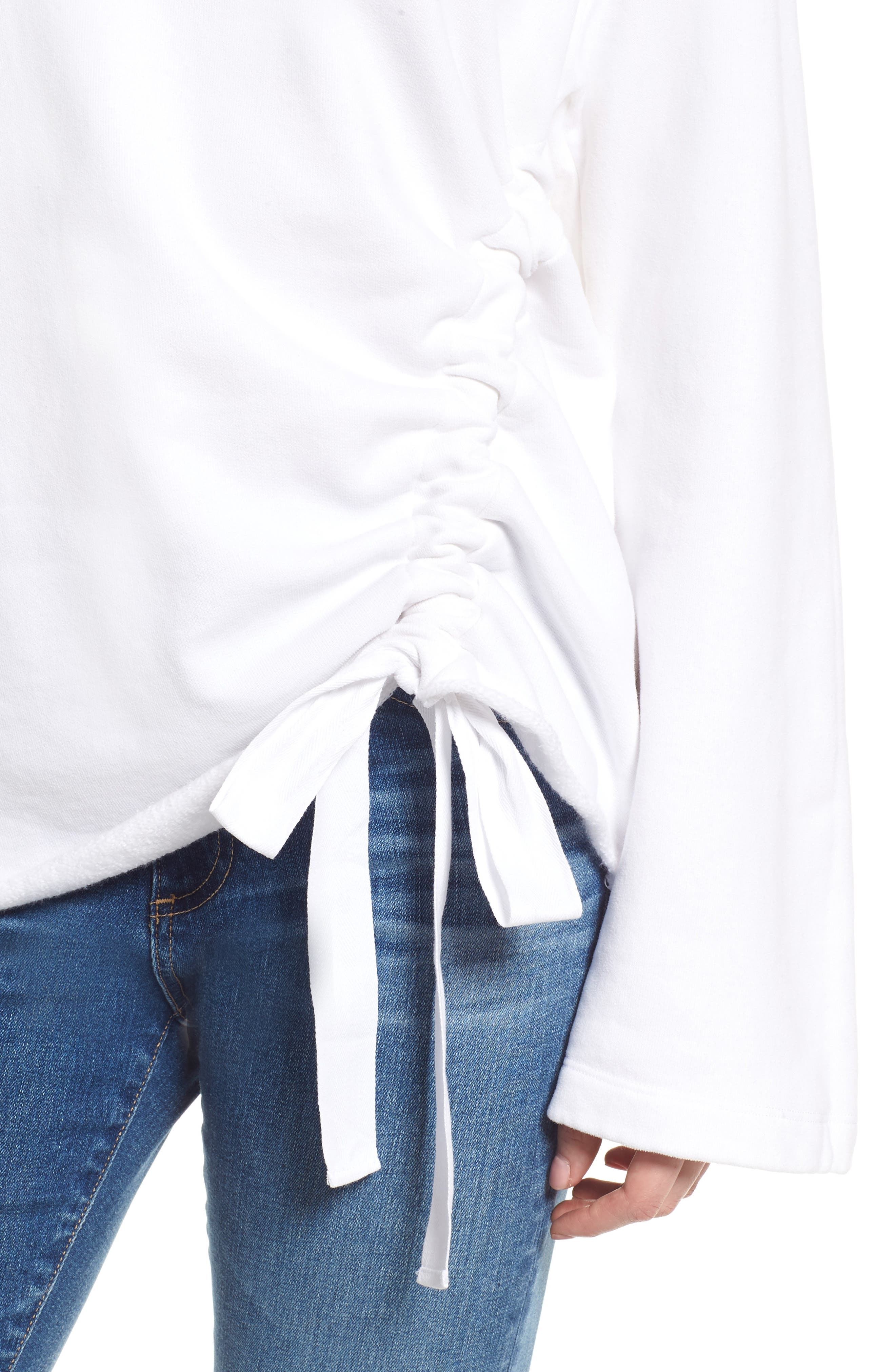 Gathered French Terry Sweatshirt,                             Alternate thumbnail 4, color,                             White
