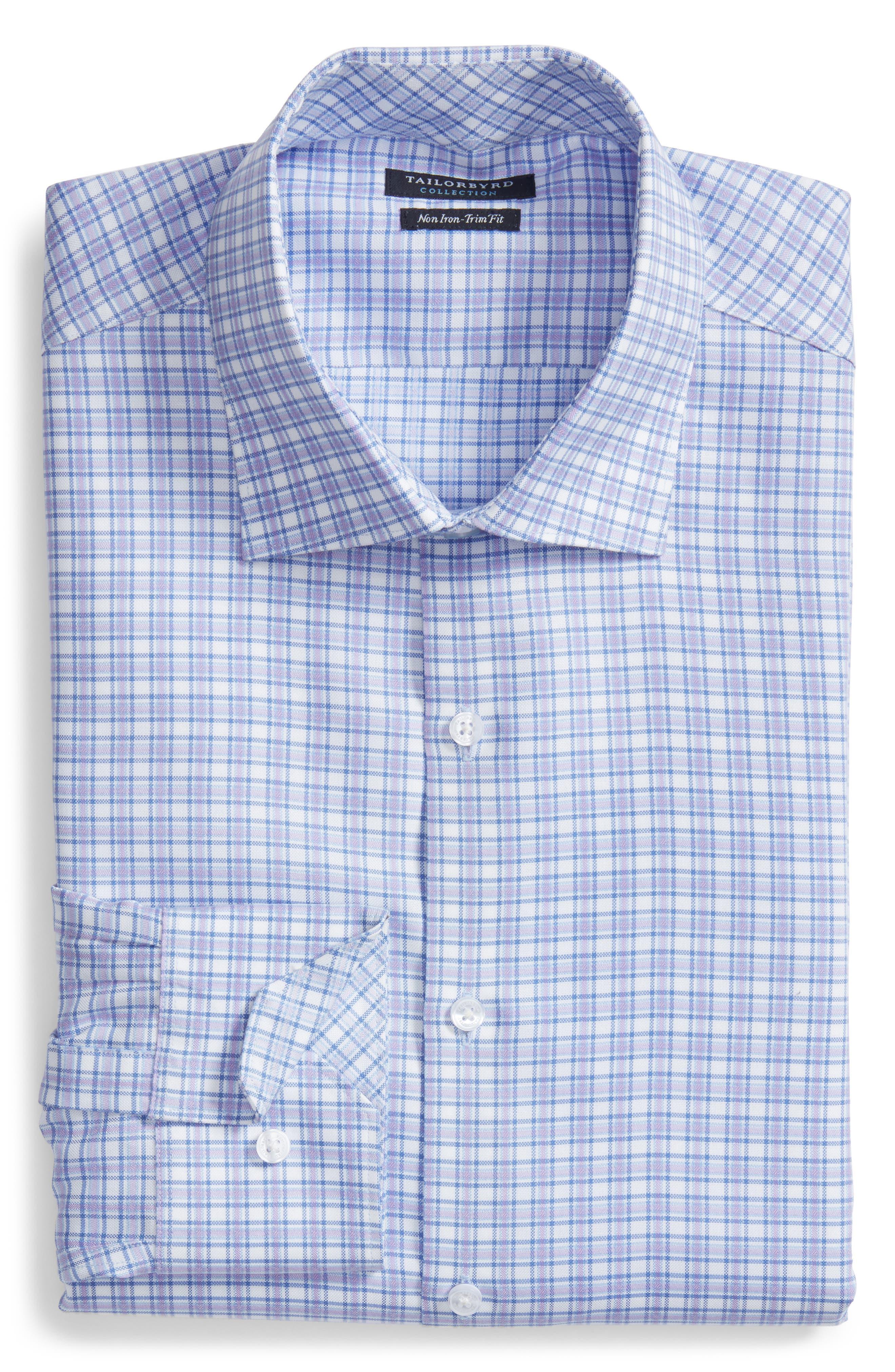 Neil Trim Fit Check Dress Shirt,                             Alternate thumbnail 6, color,                             Lavender