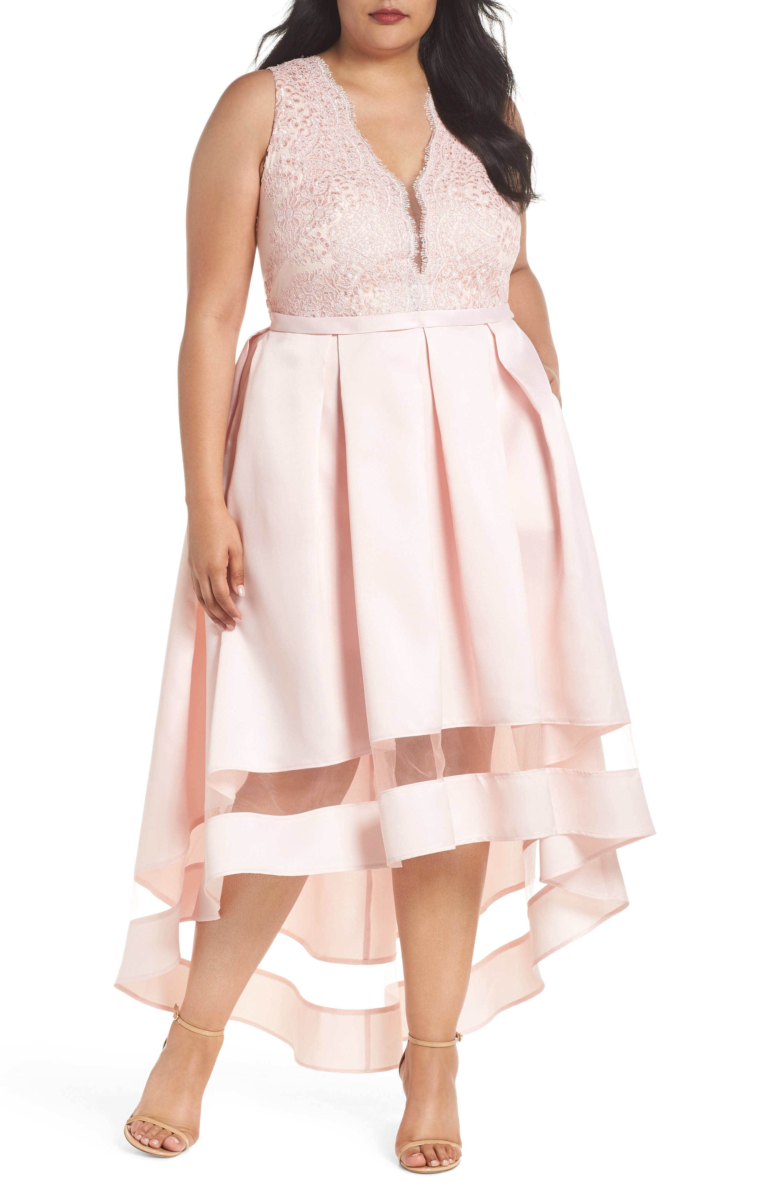 Main Image - Marina Lace & Pleated High/Low Gown (Plus Size)
