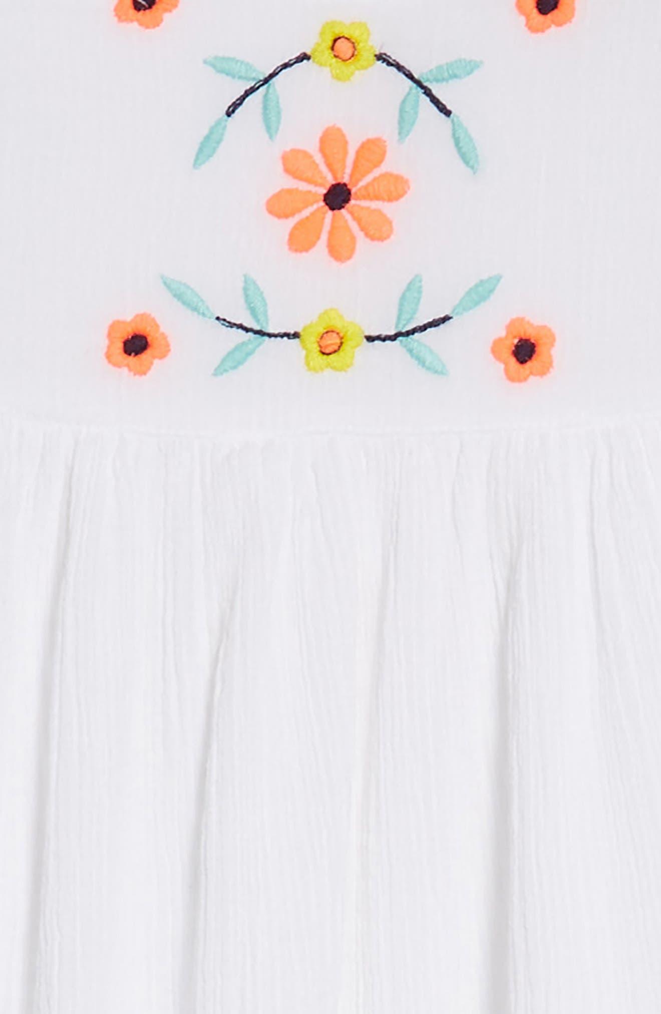 Embroidered Flutter Sleeve Dress,                             Alternate thumbnail 3, color,                             White