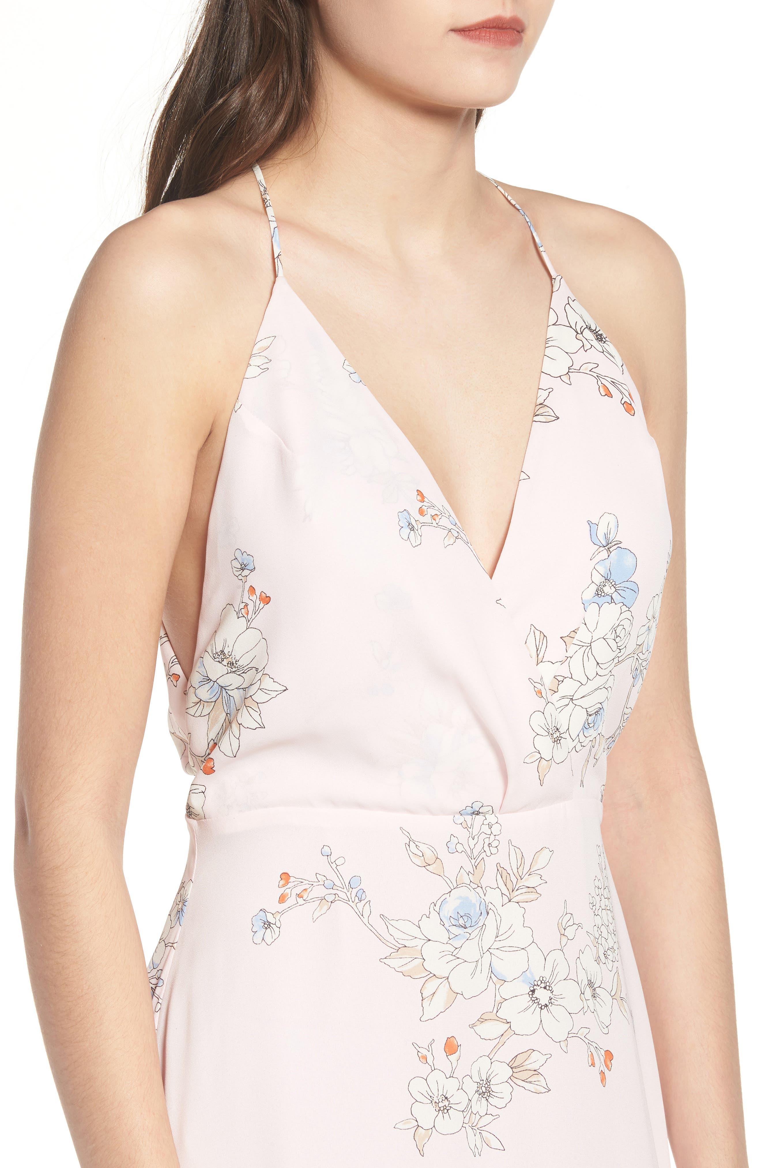 Surplice Maxi Dress,                             Alternate thumbnail 4, color,                             Pale Pink Floral
