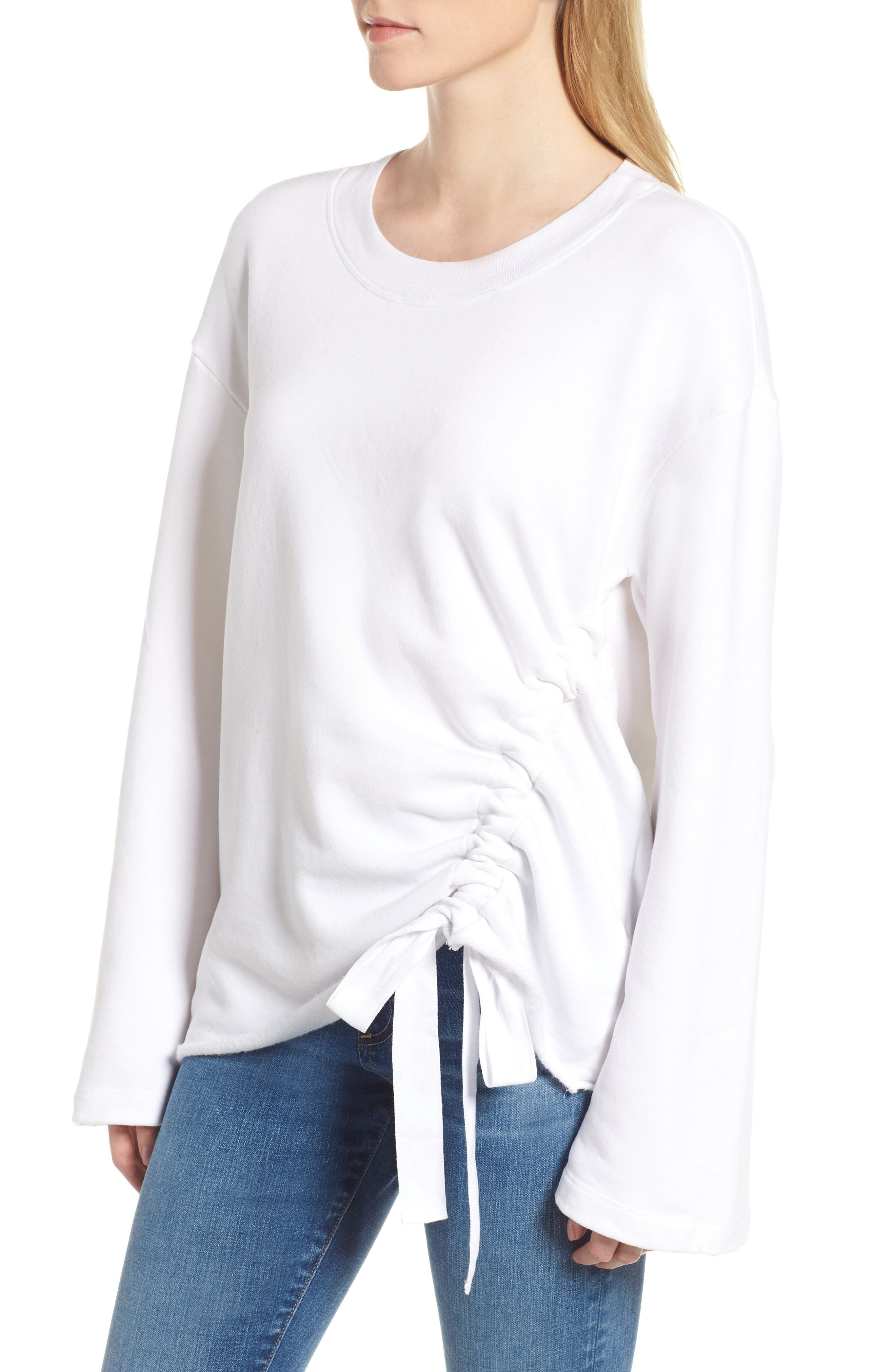 Gathered French Terry Sweatshirt,                             Alternate thumbnail 3, color,                             White