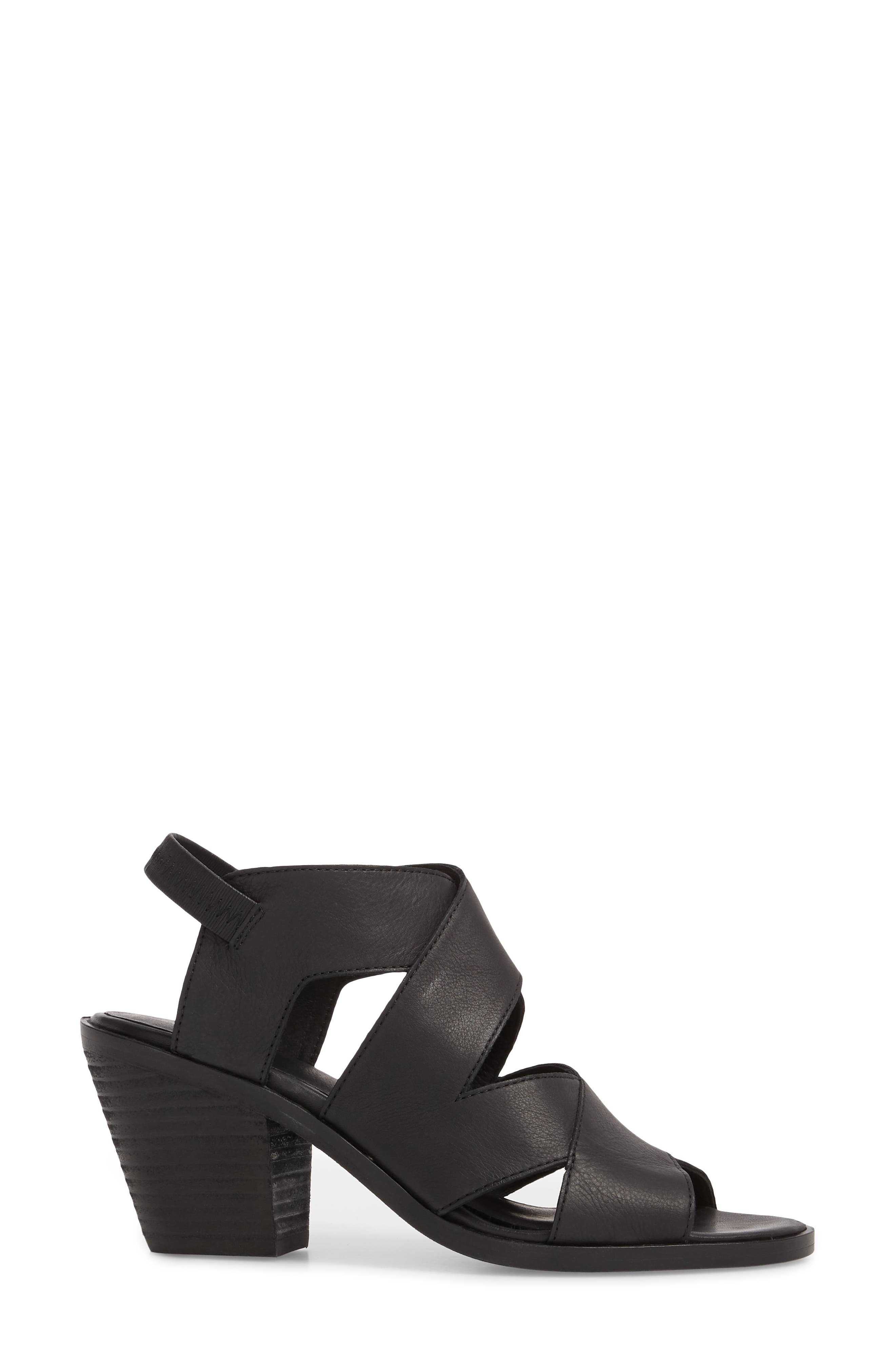 Rai Sandal,                             Alternate thumbnail 3, color,                             Black Leather
