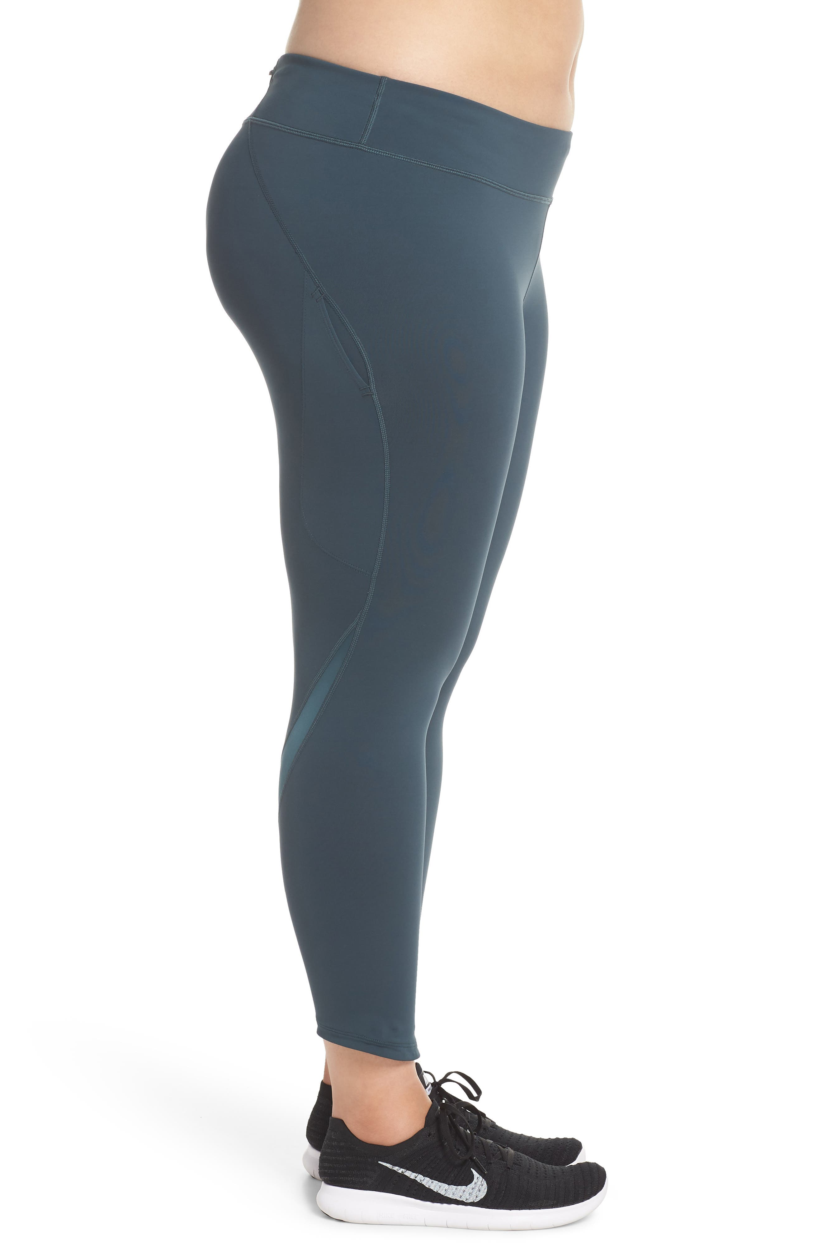 Power Epic Lux Crop Running Tights,                             Alternate thumbnail 4, color,                             Deep Jungle