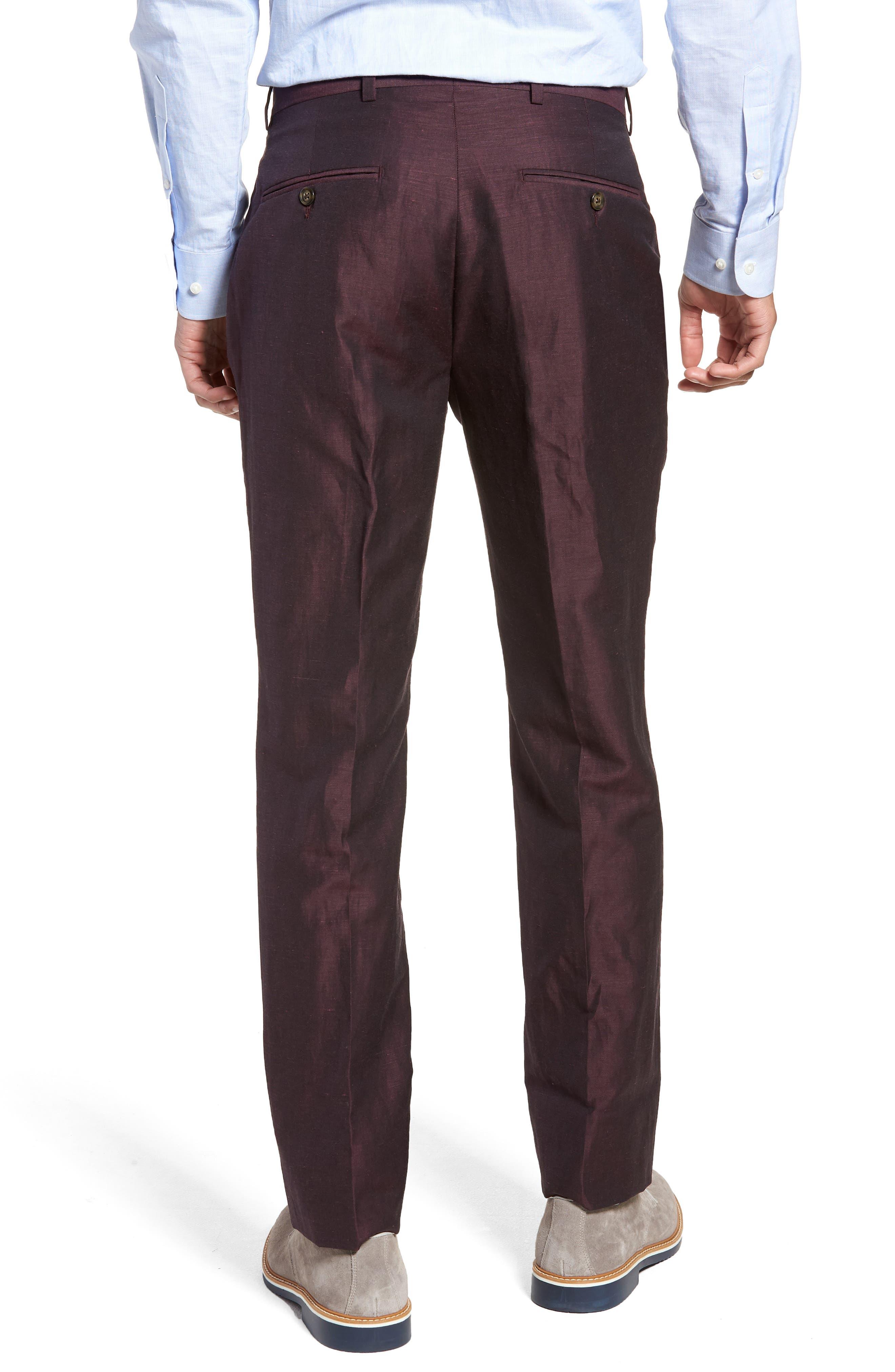 Dagger Flat Front Solid Wool & Linen Trousers,                             Alternate thumbnail 2, color,                             Plum