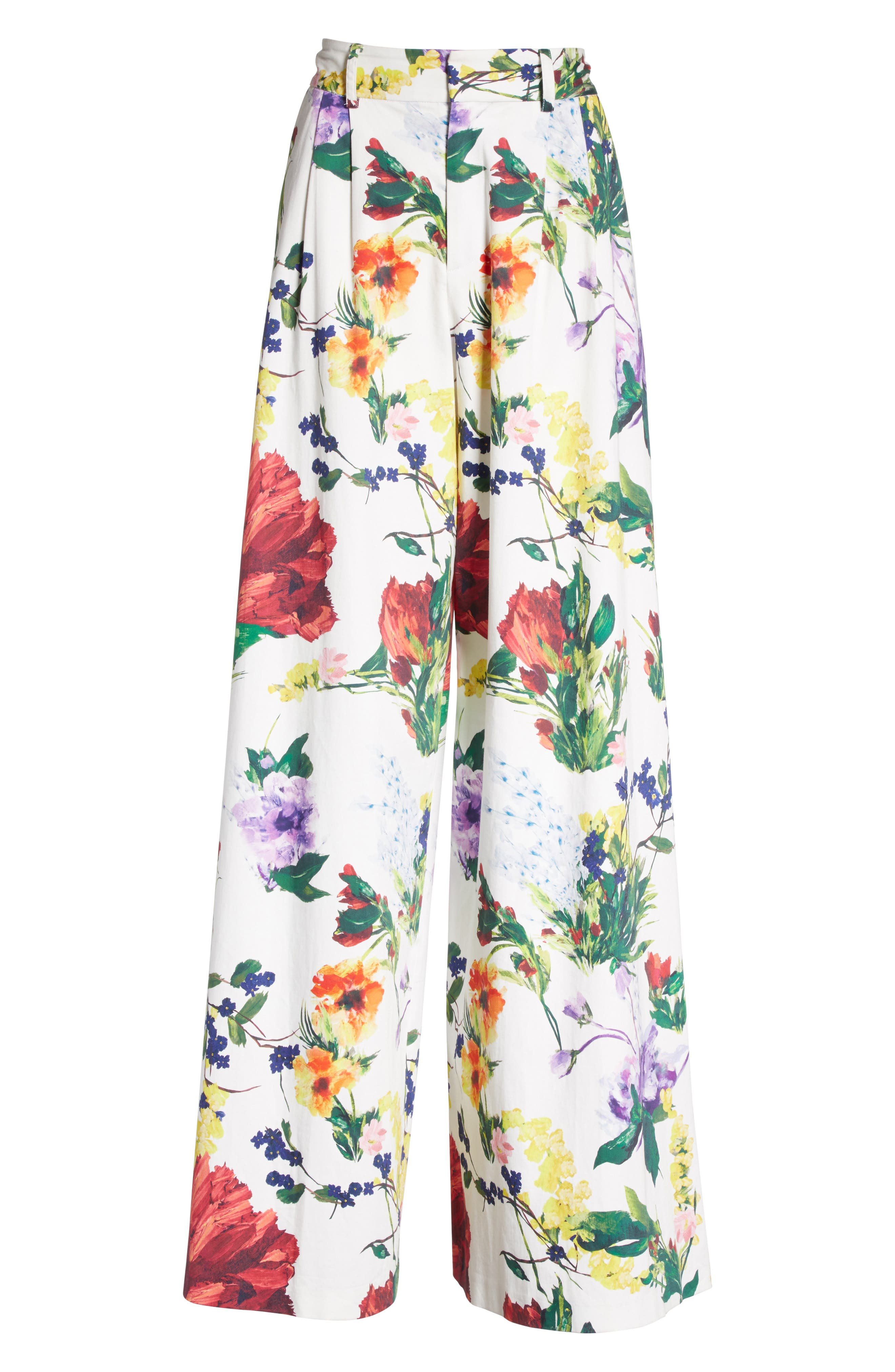 Dustin Floral Flared Pants,                             Alternate thumbnail 7, color,                             Wildflower