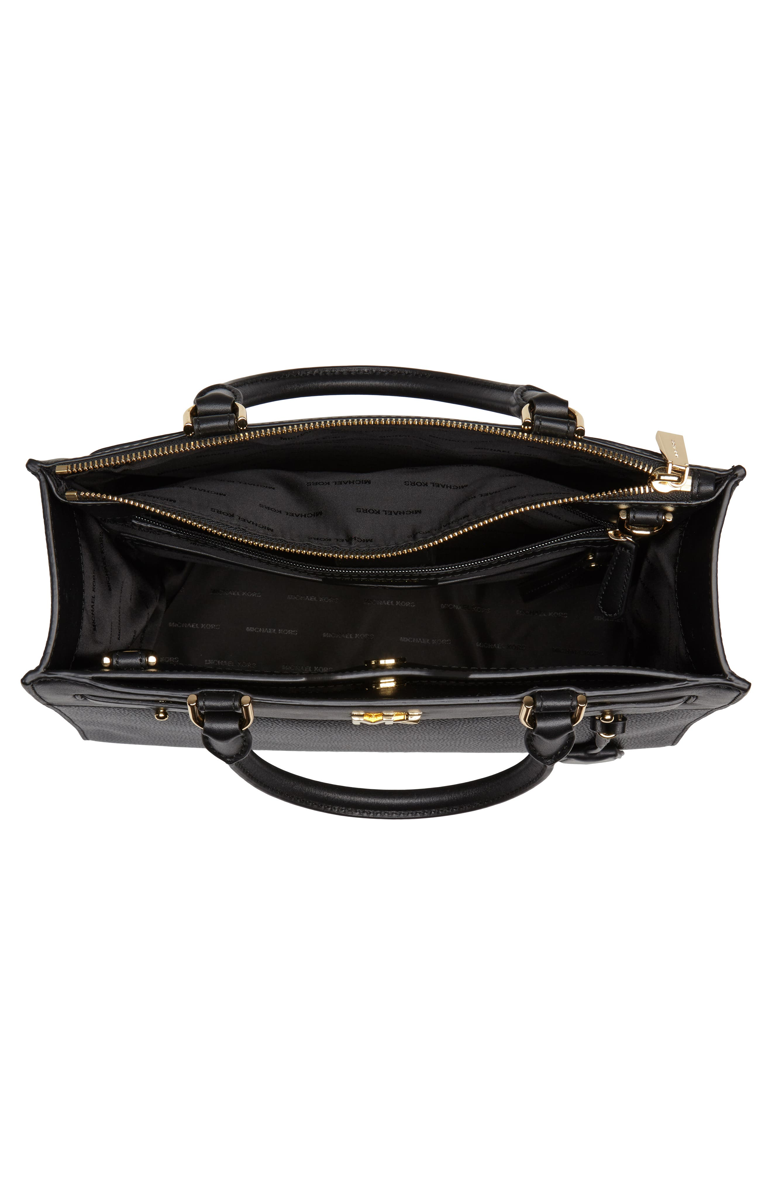 Reagan Large Leather Satchel,                             Alternate thumbnail 2, color,                             Black