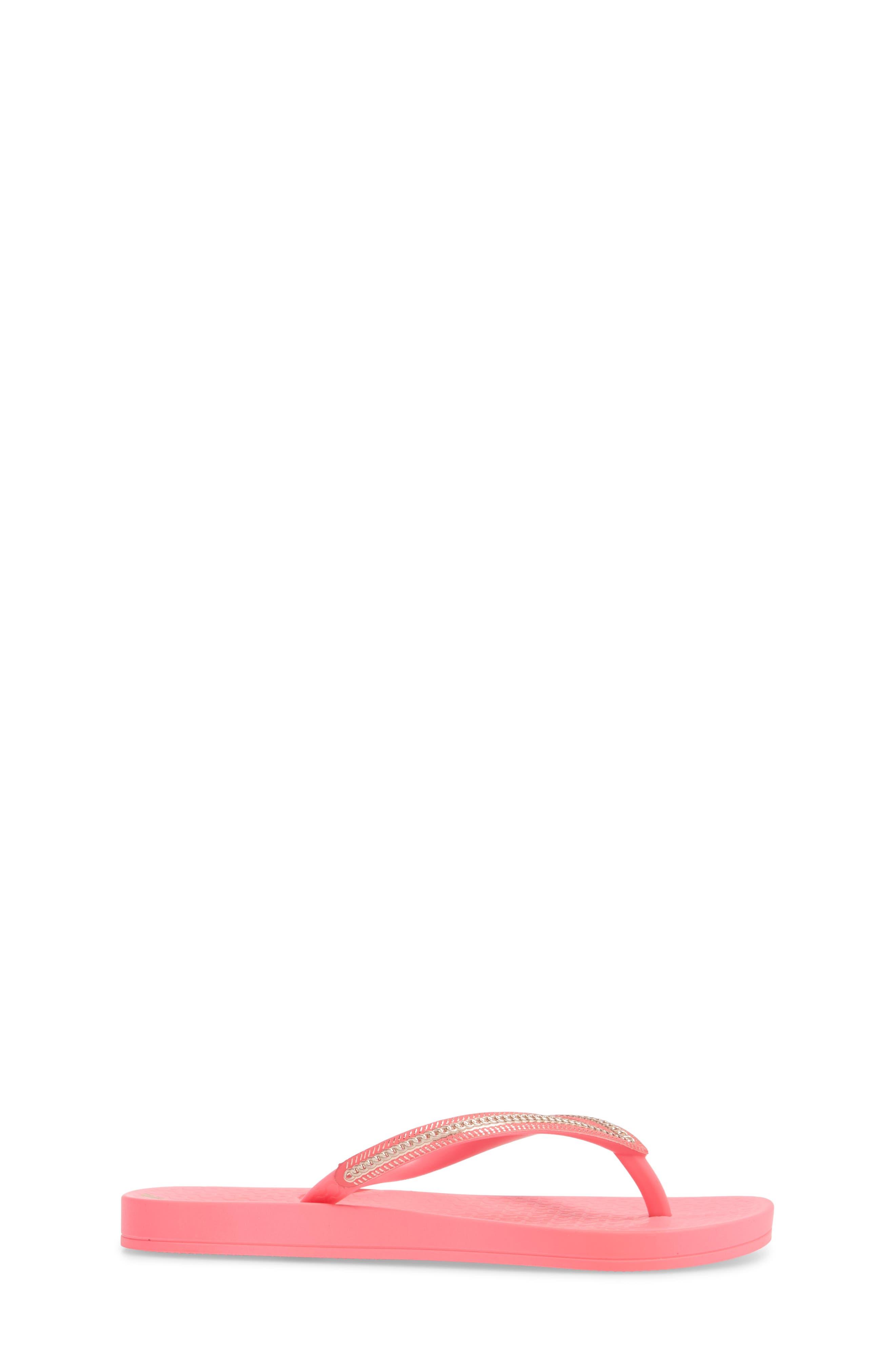 Ana Metallic Flip Flop,                             Alternate thumbnail 3, color,                             Pink Neon/ Rose
