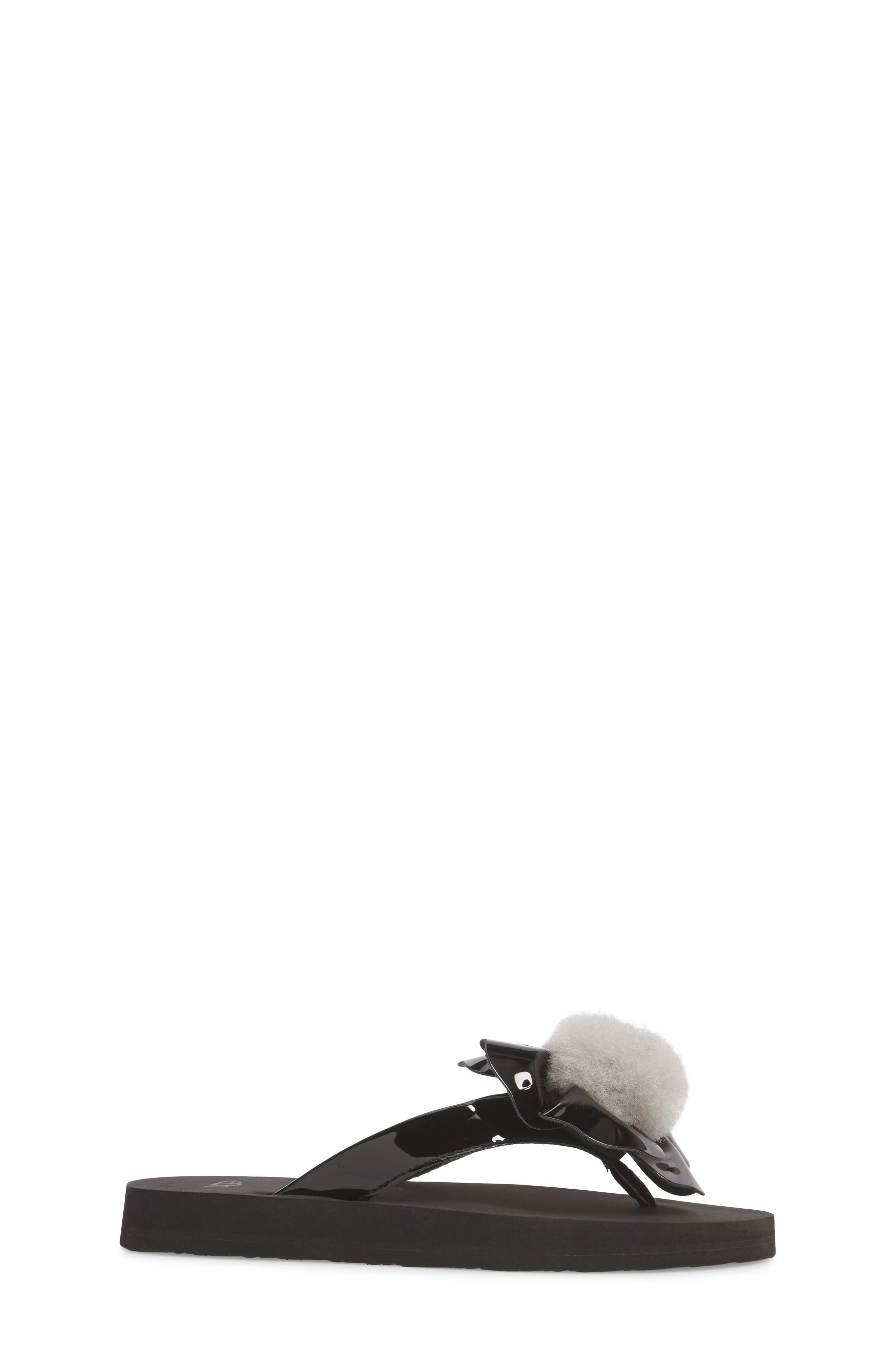 Poppy Genuine Shearling Flip Flop,                             Alternate thumbnail 3, color,                             Black