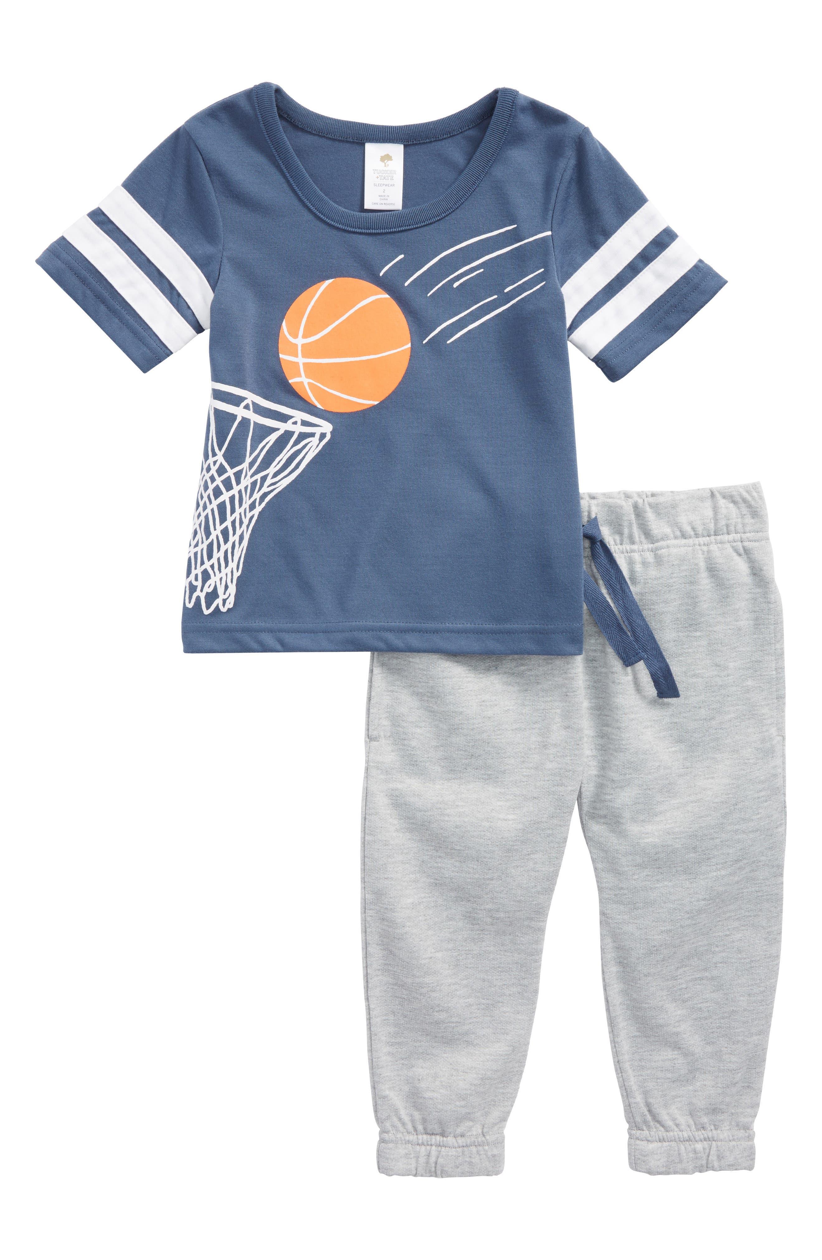 Yum Yum Two-Piece Pajamas,                         Main,                         color, Blue Vintage Basket Swish