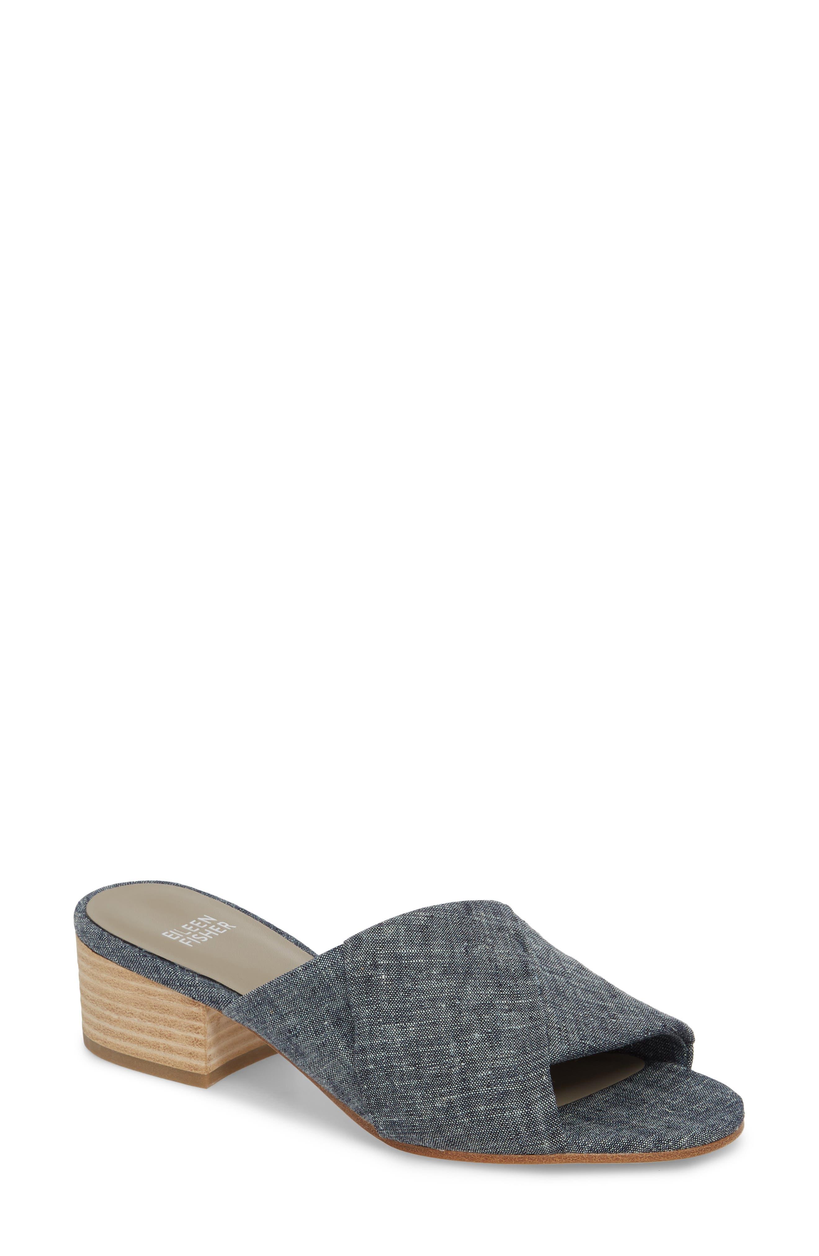 Ruche Sandal,                         Main,                         color, Denim Fabric