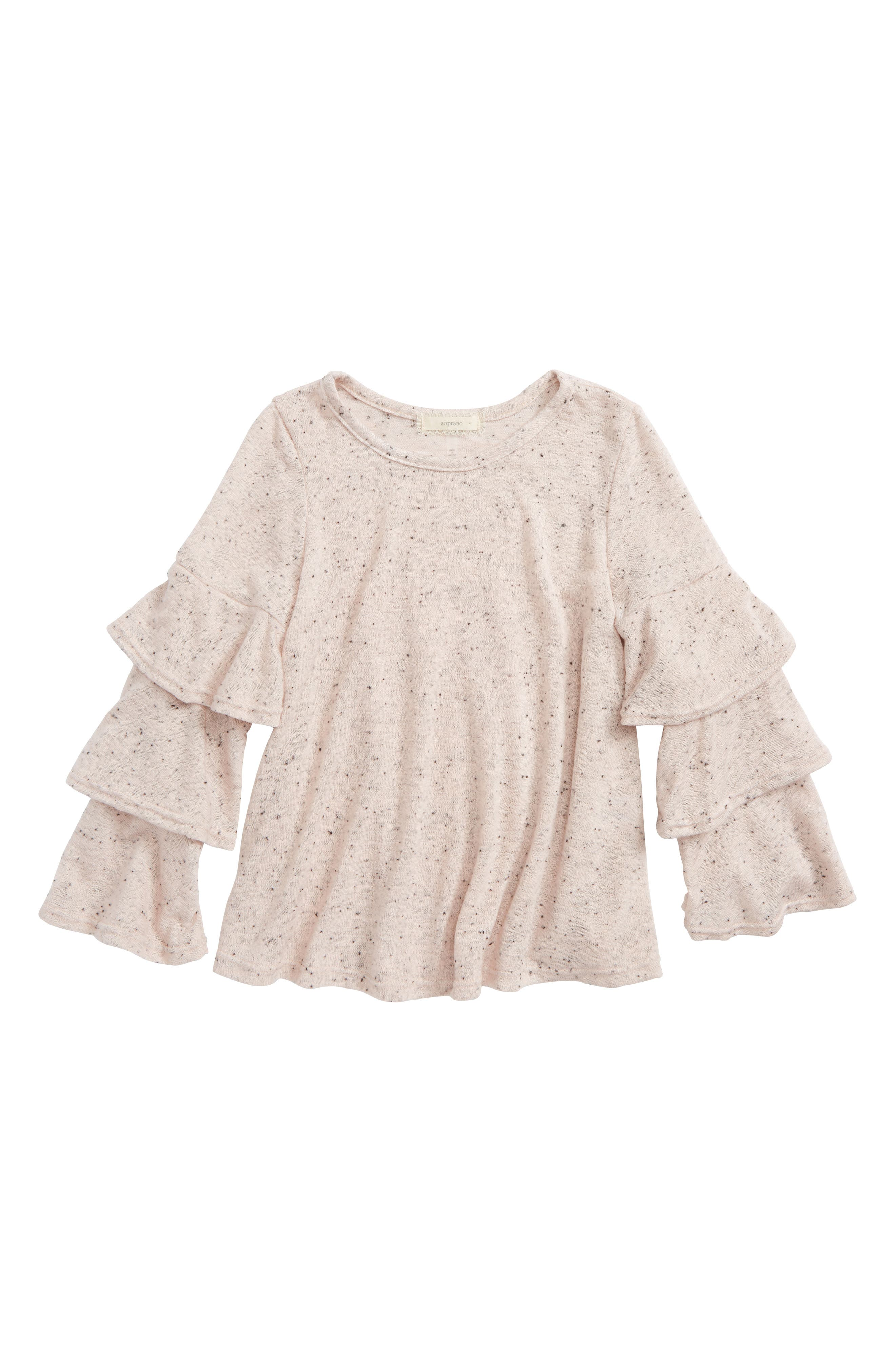 Nep Tiered Sleeve Tee,                         Main,                         color, Blush