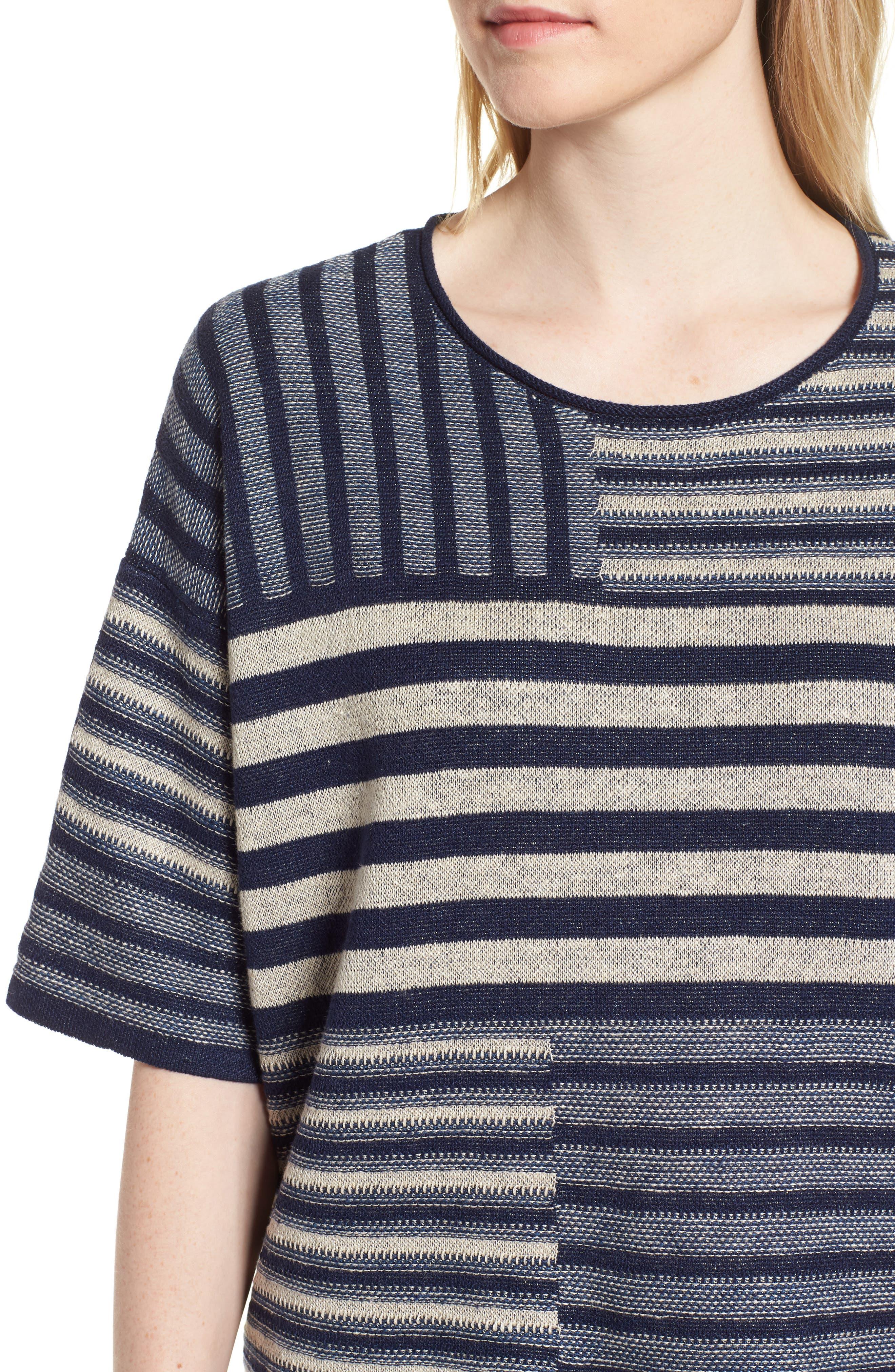 Mixed Stripe Organic Linen Top,                             Alternate thumbnail 4, color,                             Denim