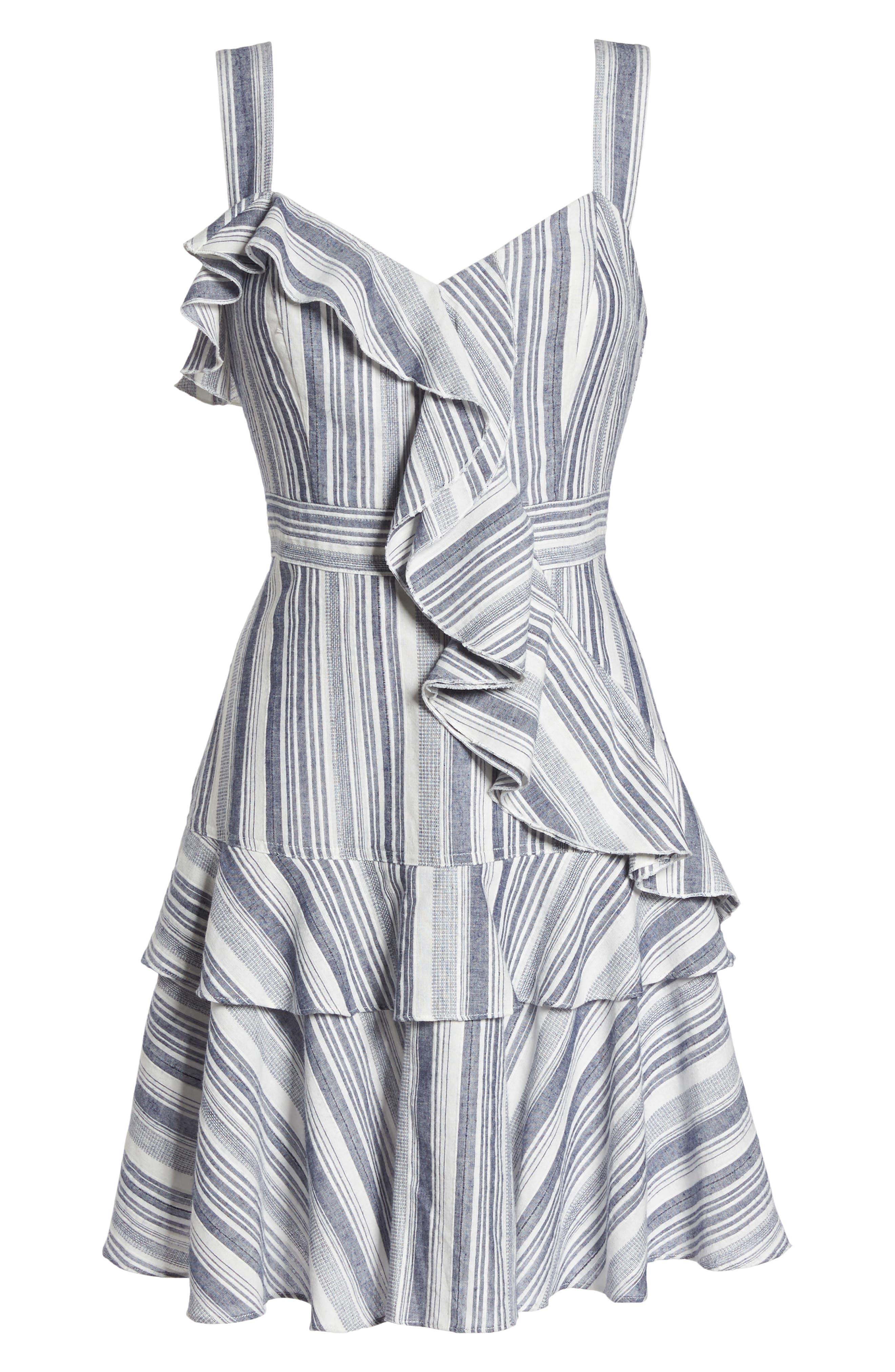 Stripe Ruffle Sundress,                             Alternate thumbnail 7, color,                             Navy