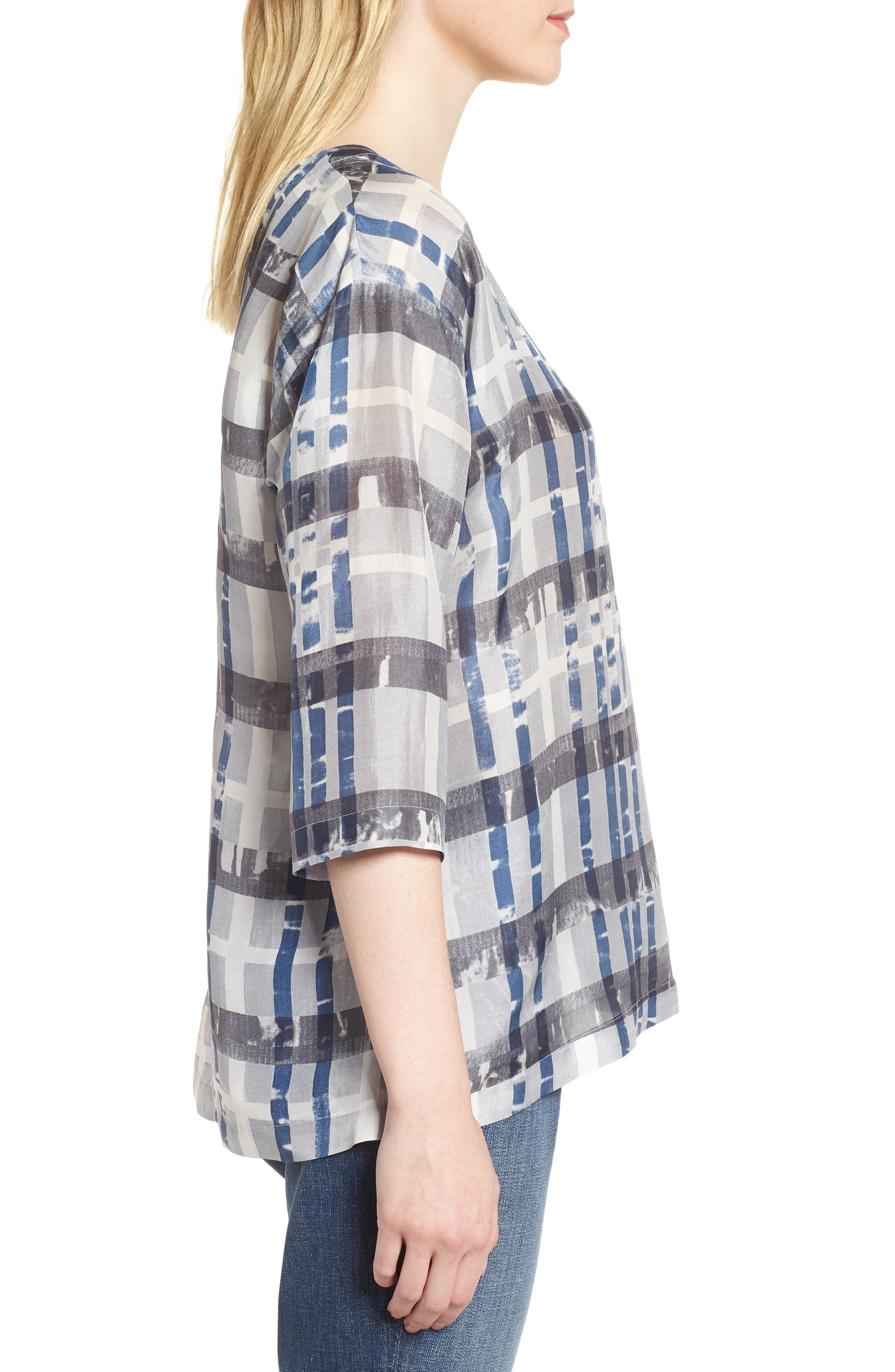Plaid Boxy Silk Top,                             Alternate thumbnail 3, color,                             Silver