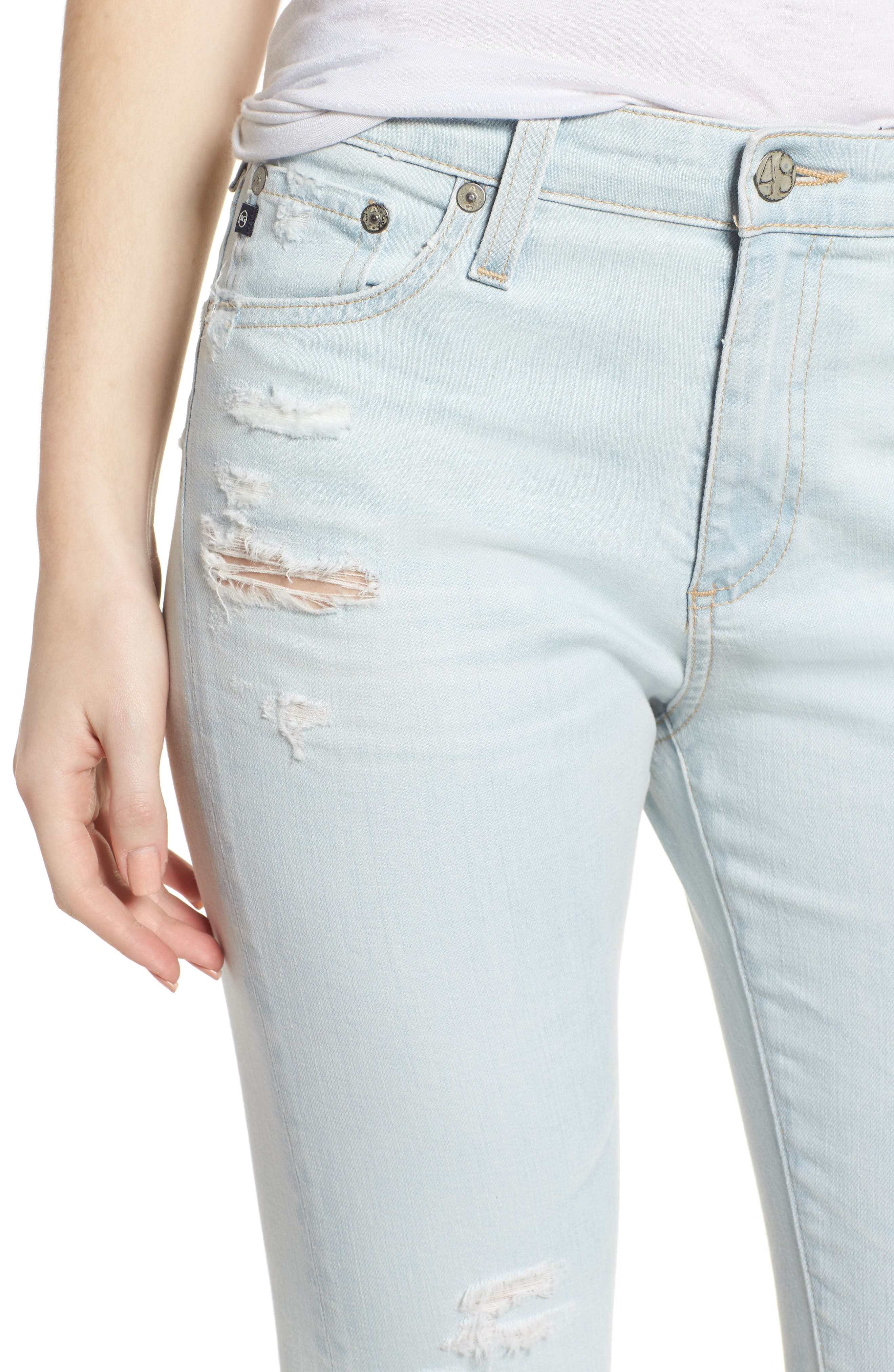 The Farrah Ripped High Waist Ankle Skinny Jeans,                             Alternate thumbnail 4, color,                             30 Years Wild Abandon