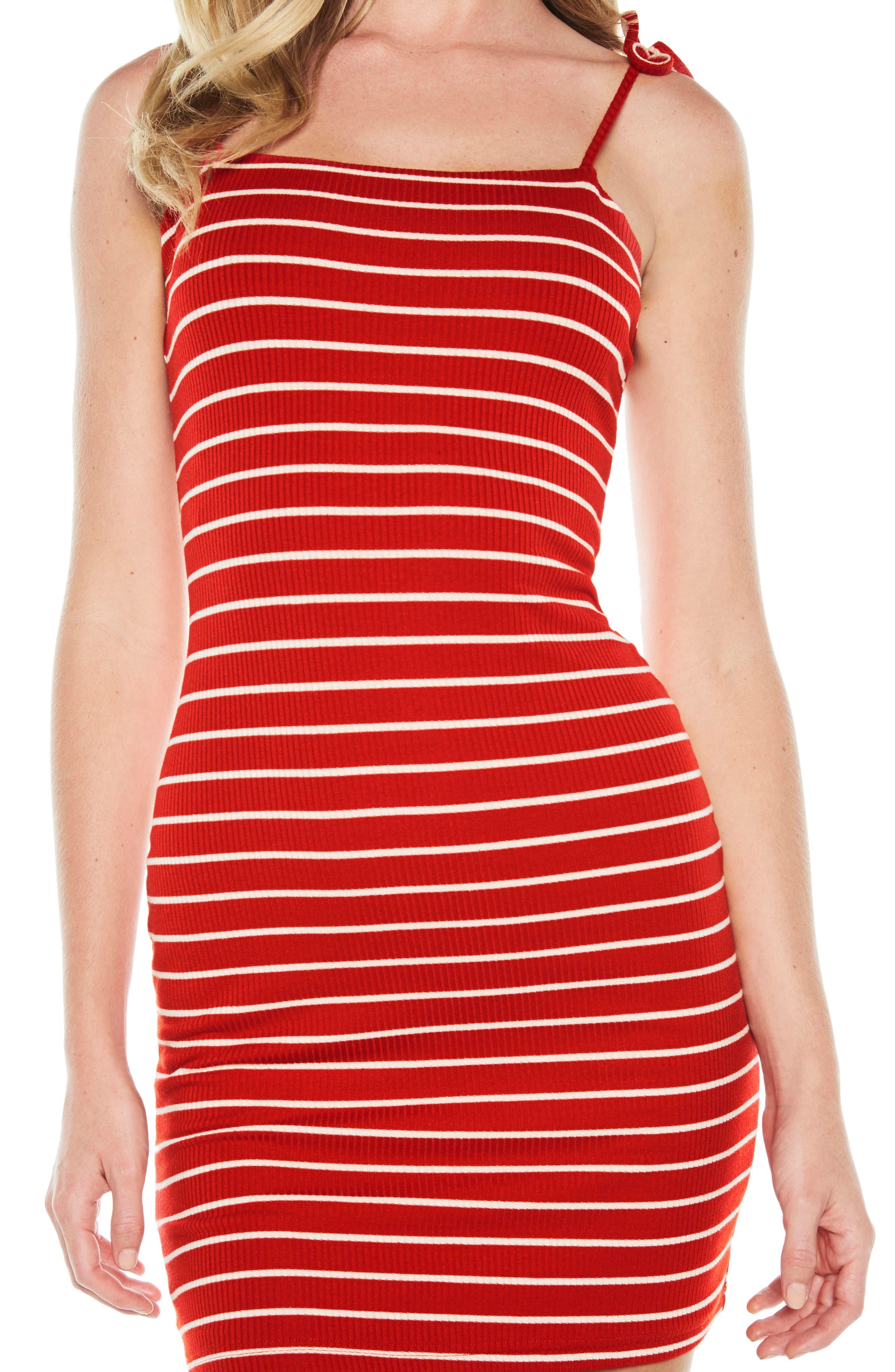 Romy Tie Strap Tube Dress,                             Alternate thumbnail 4, color,                             Red/ White Stripe