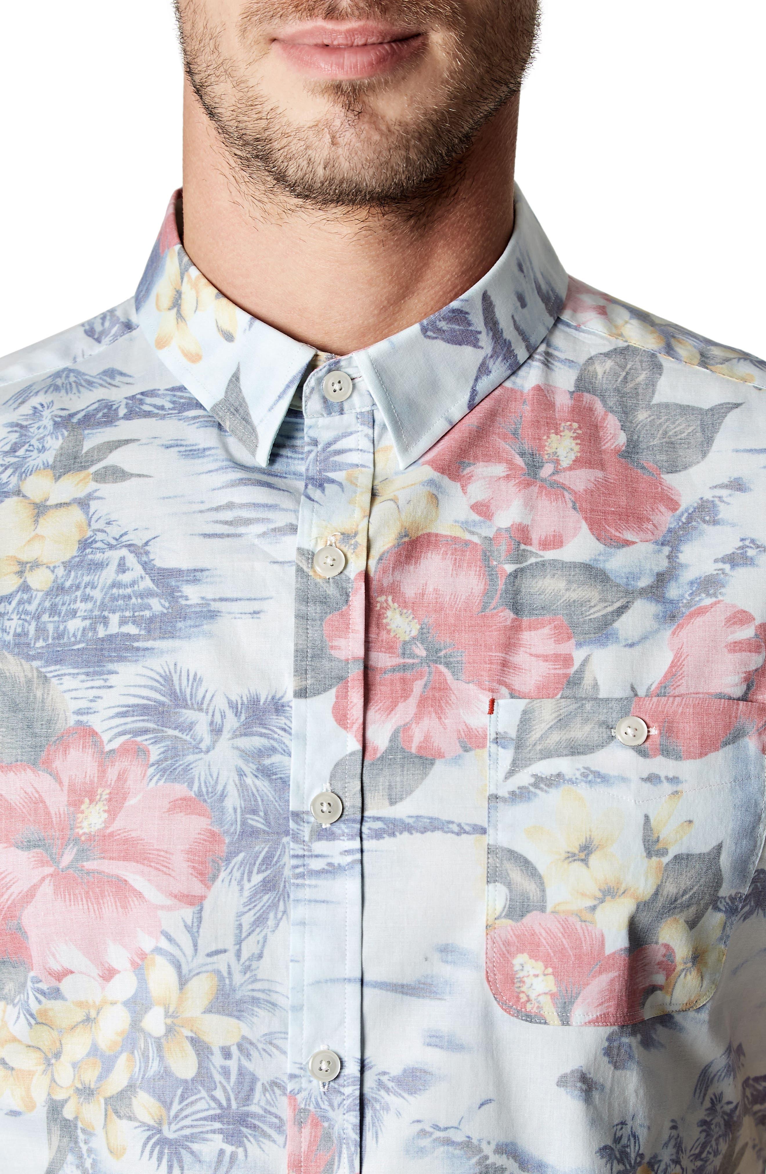 Vacation Tropical Print Sport Shirt,                             Alternate thumbnail 4, color,                             Lt. Blue