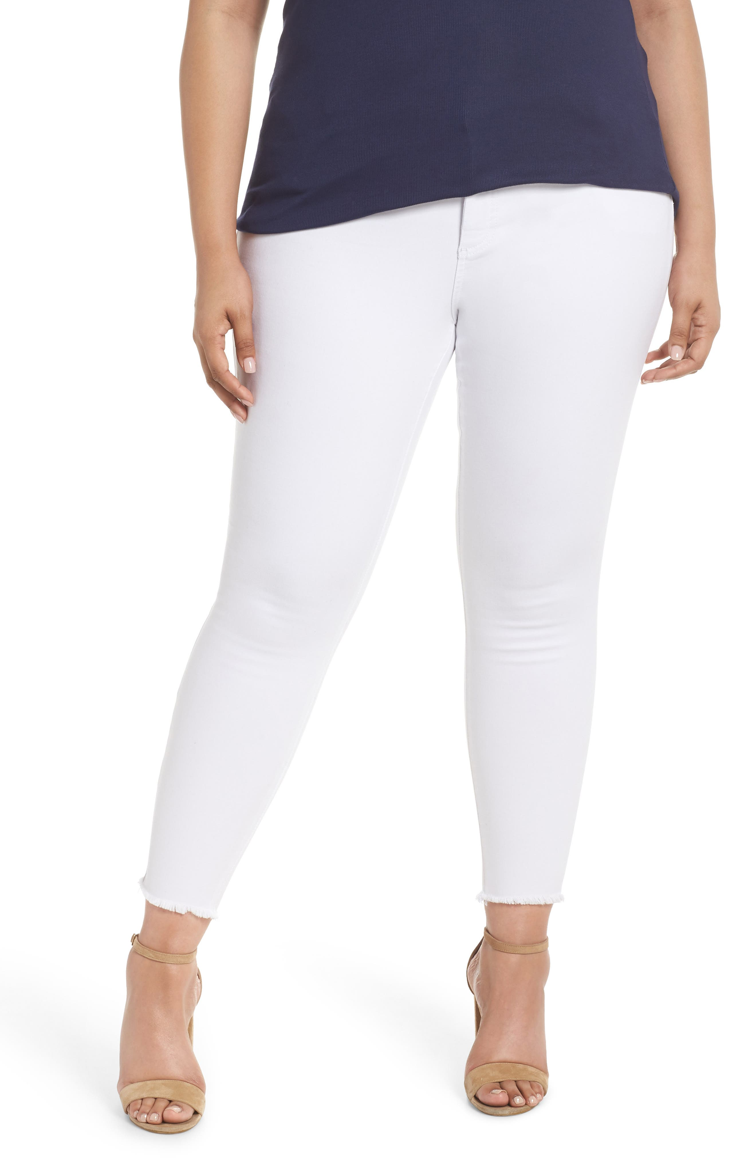 KUT from the Kloth Donna Ankle Frayed Skinny Jeans (Optic White) (Plus Size)