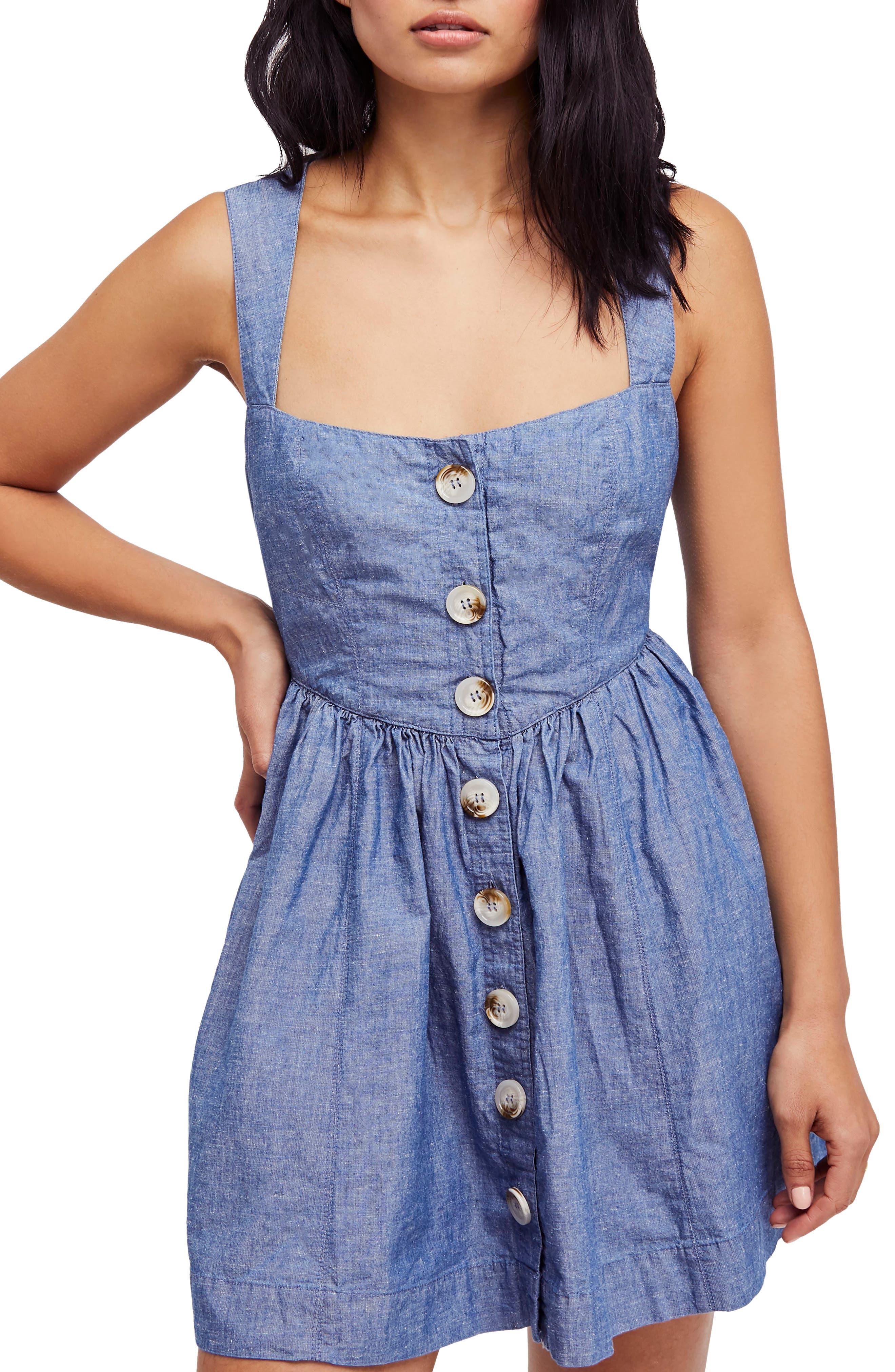 Carolina Chambray Minidress,                         Main,                         color, Blue