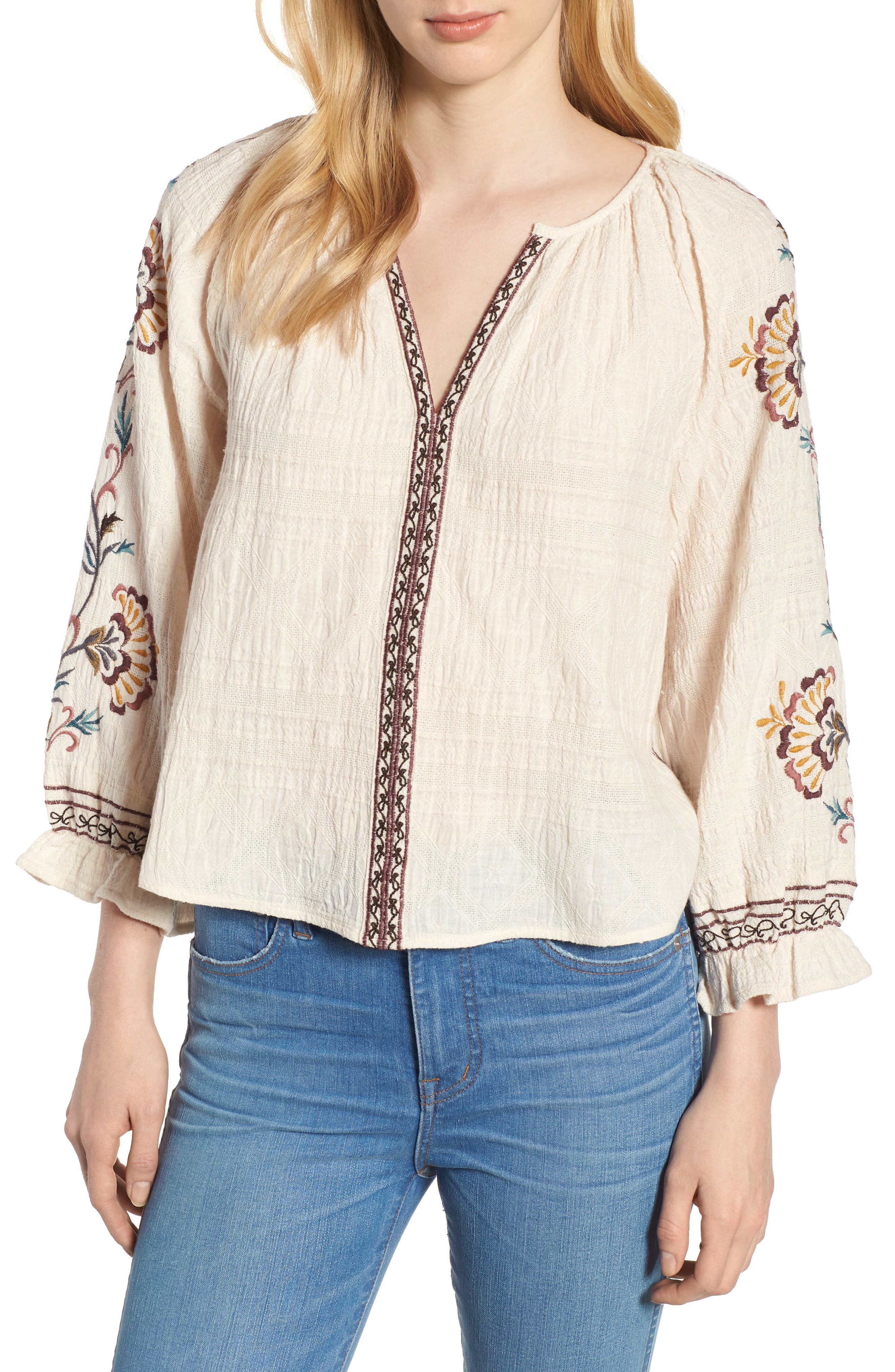 Embroidered Peasant Blouse,                         Main,                         color, Natural Multi