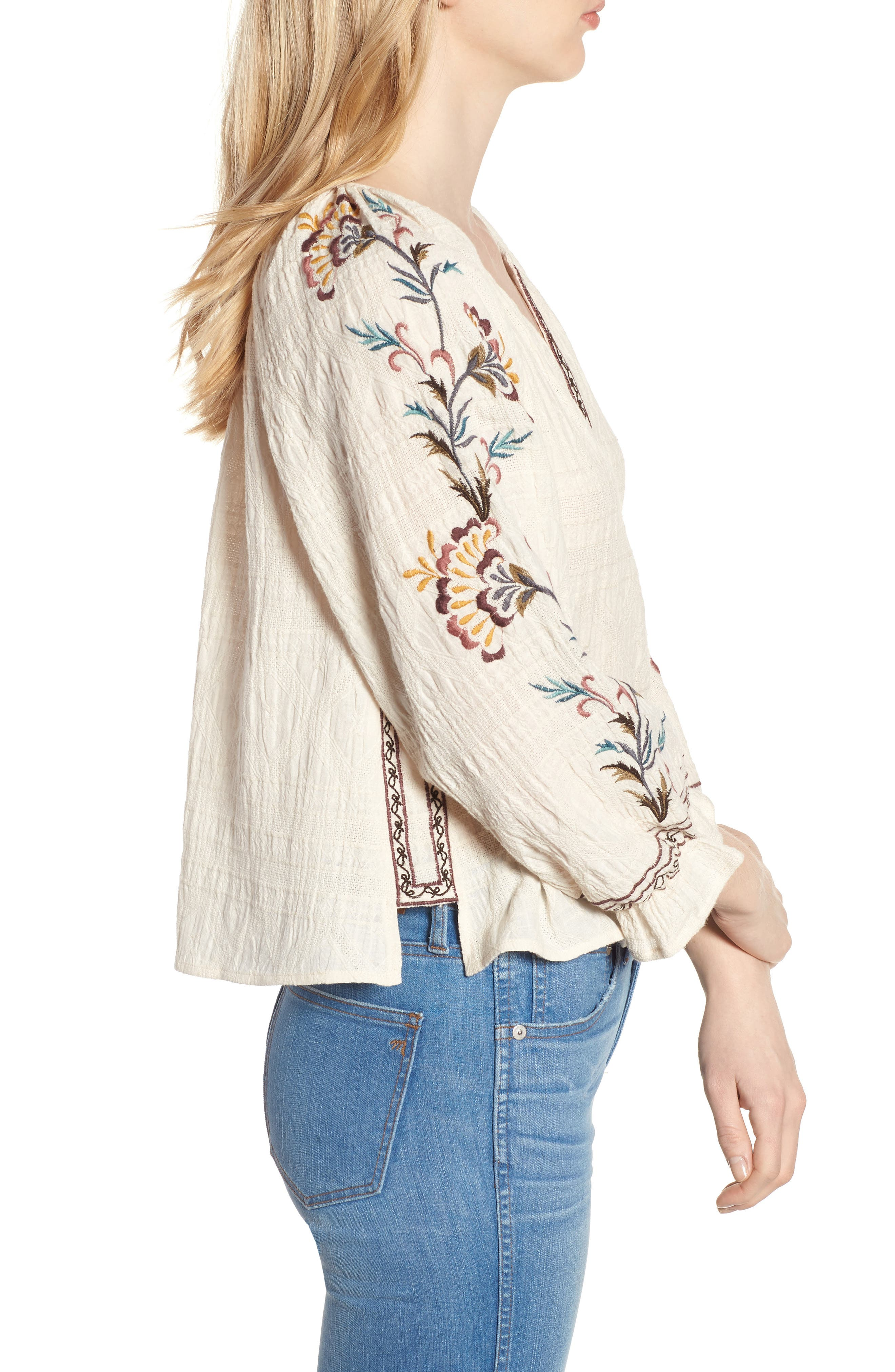 Embroidered Peasant Blouse,                             Alternate thumbnail 3, color,                             Natural Multi