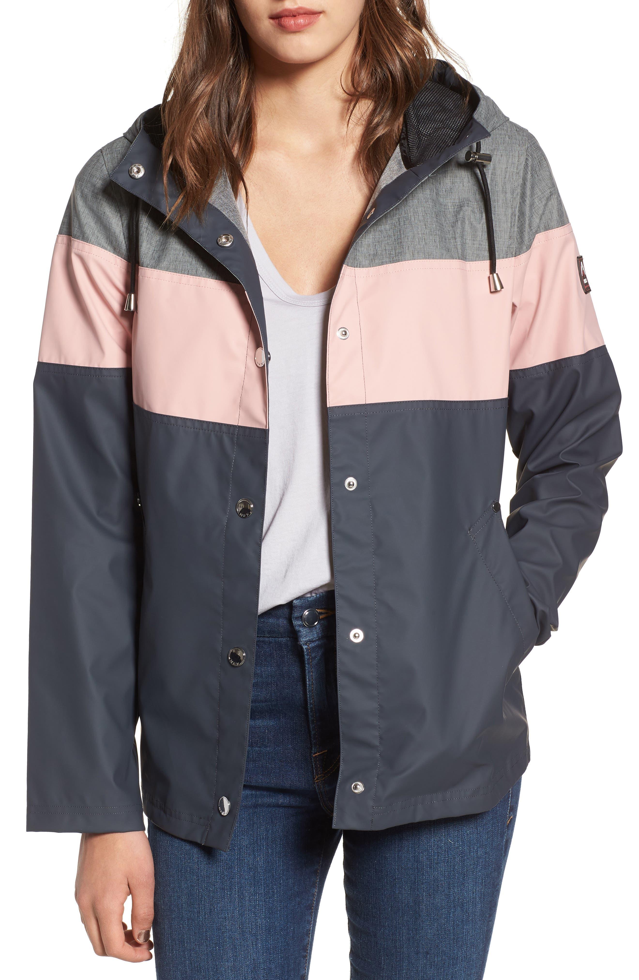 Hooded Raincoat,                         Main,                         color, Storm/ Blush/ Mech Grey