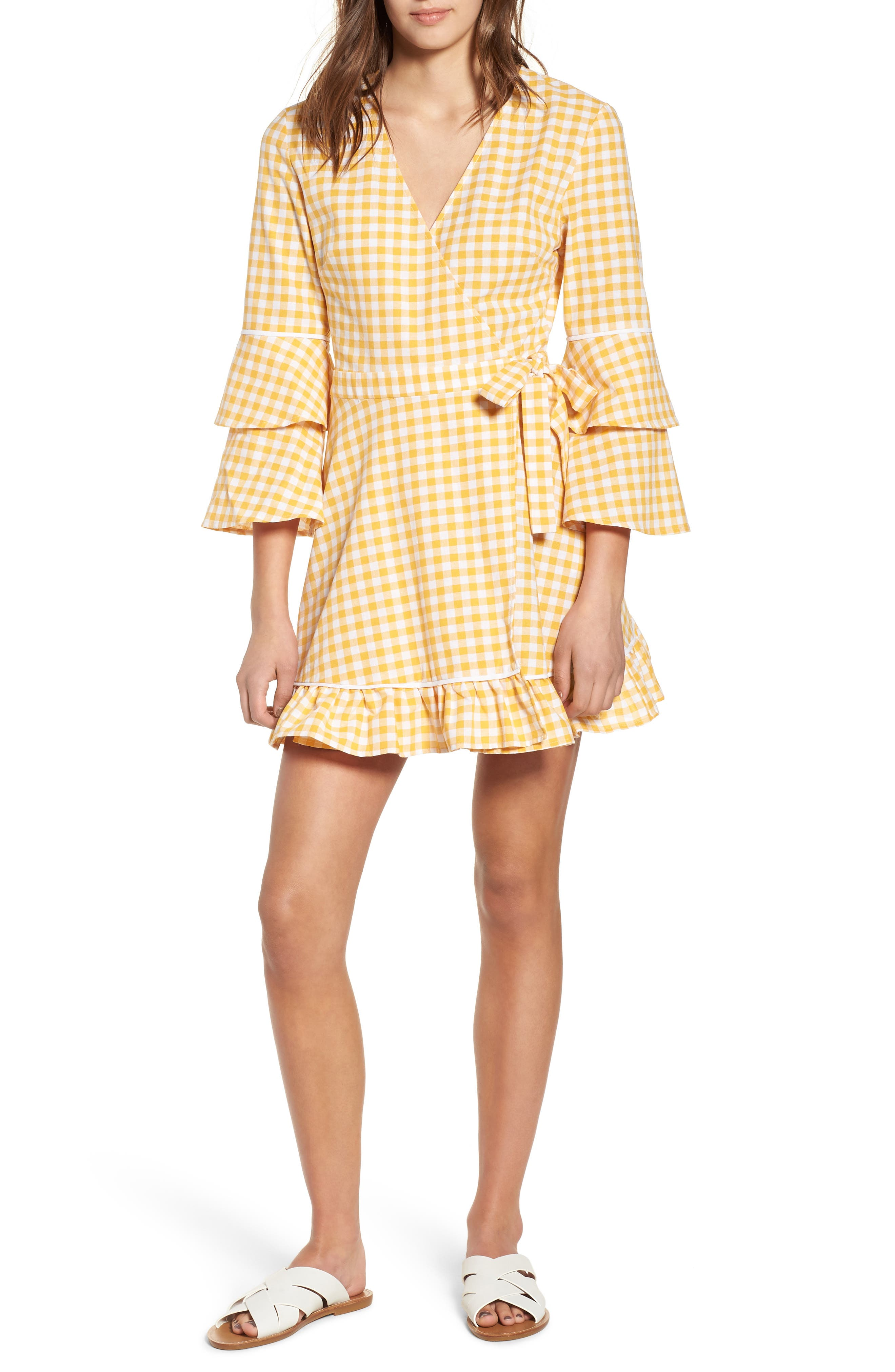 Idyllic Gingham Ruffle Dress,                             Main thumbnail 1, color,                             Buttercup