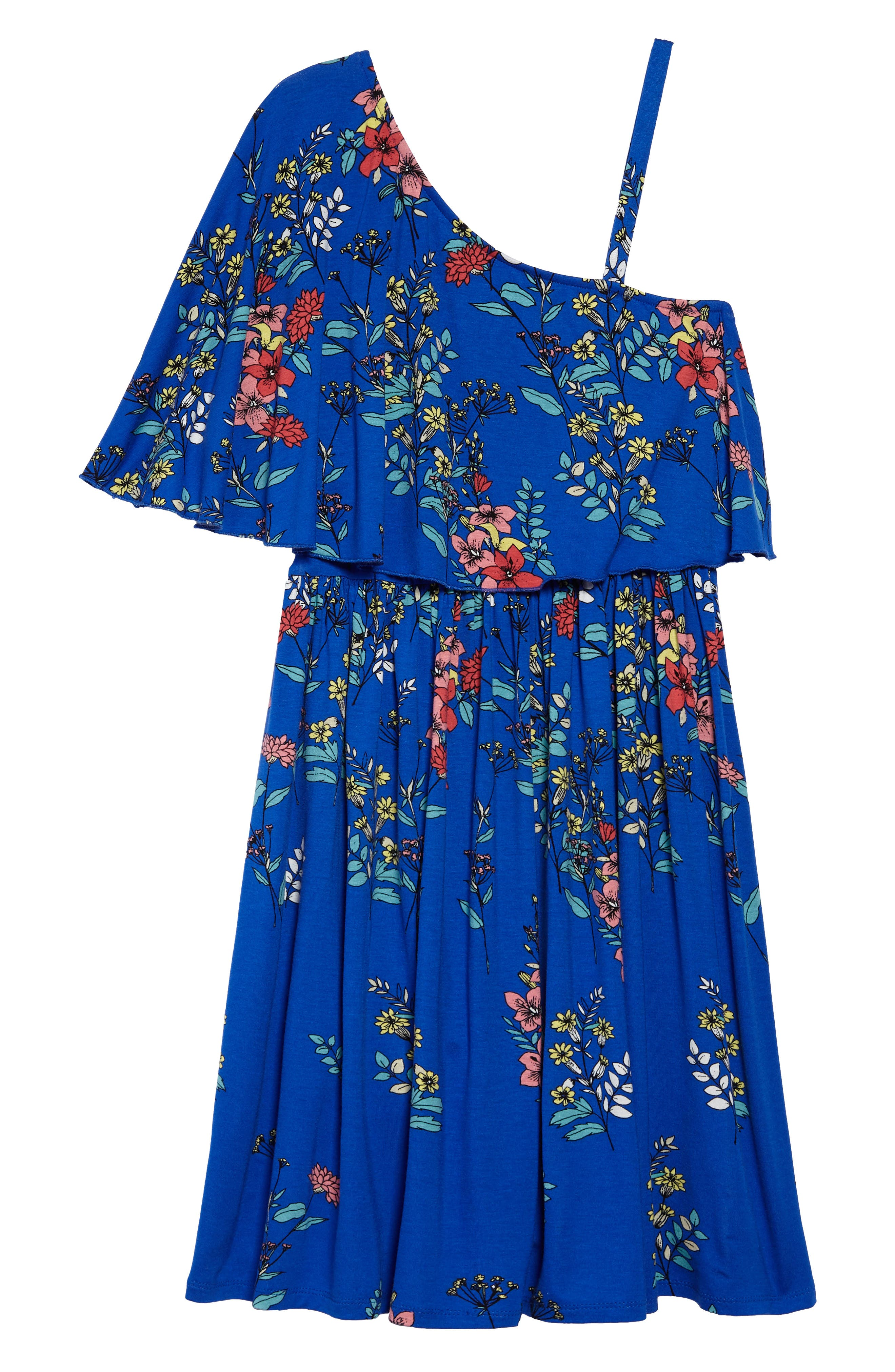 One-Shoulder Ruffle Dress,                             Alternate thumbnail 2, color,                             Royal/ Multi