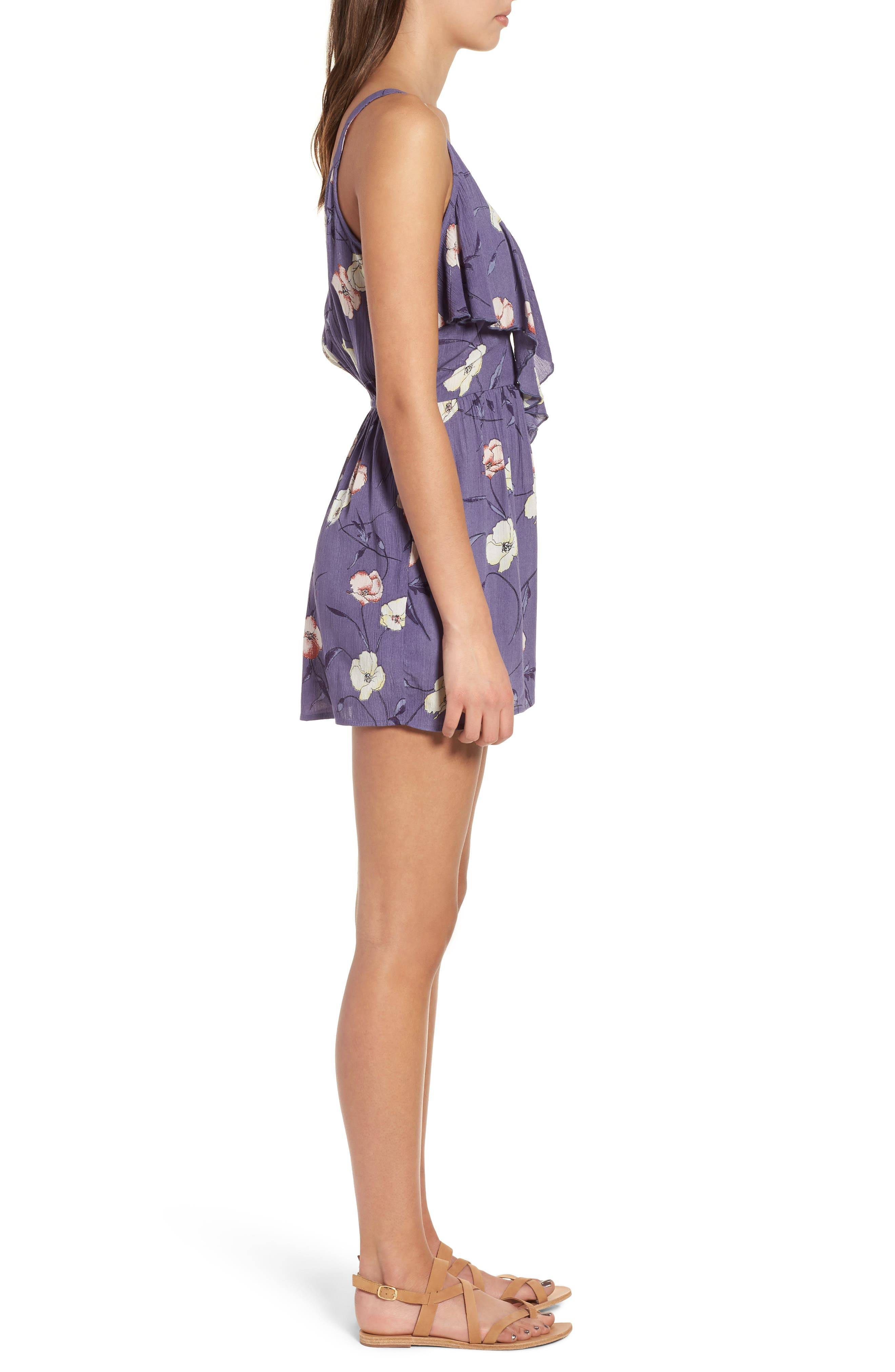 Floral Print Ruffle Front Romper,                             Alternate thumbnail 3, color,                             Indigo Blue