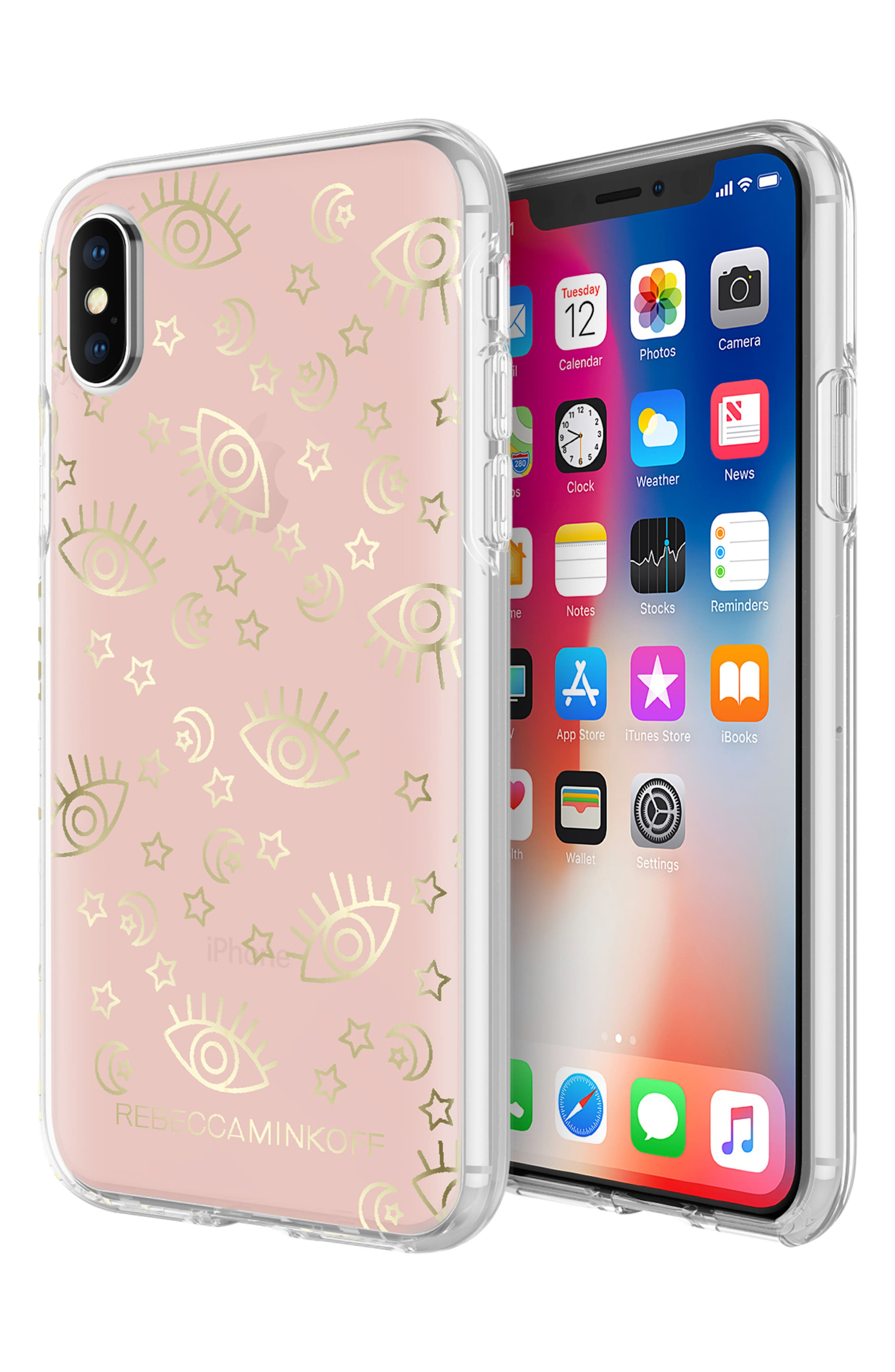 Metallic Galaxy Icon iPhone X Case,                             Alternate thumbnail 2, color,                             Rose Gold/ Gold Foil